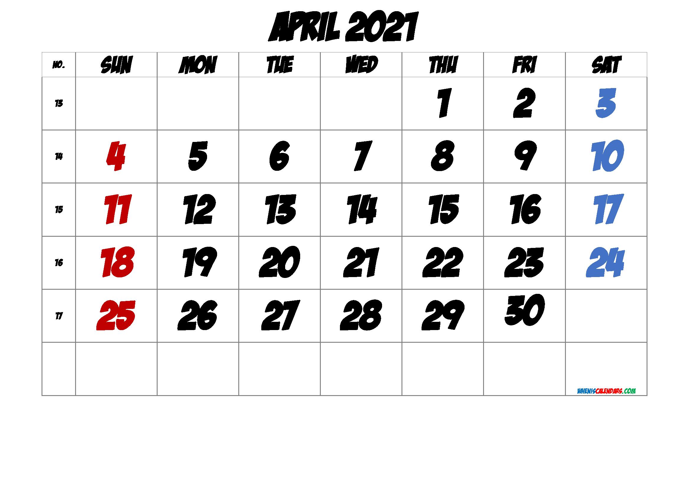 Free April 2021 Calendar with Week Numbers