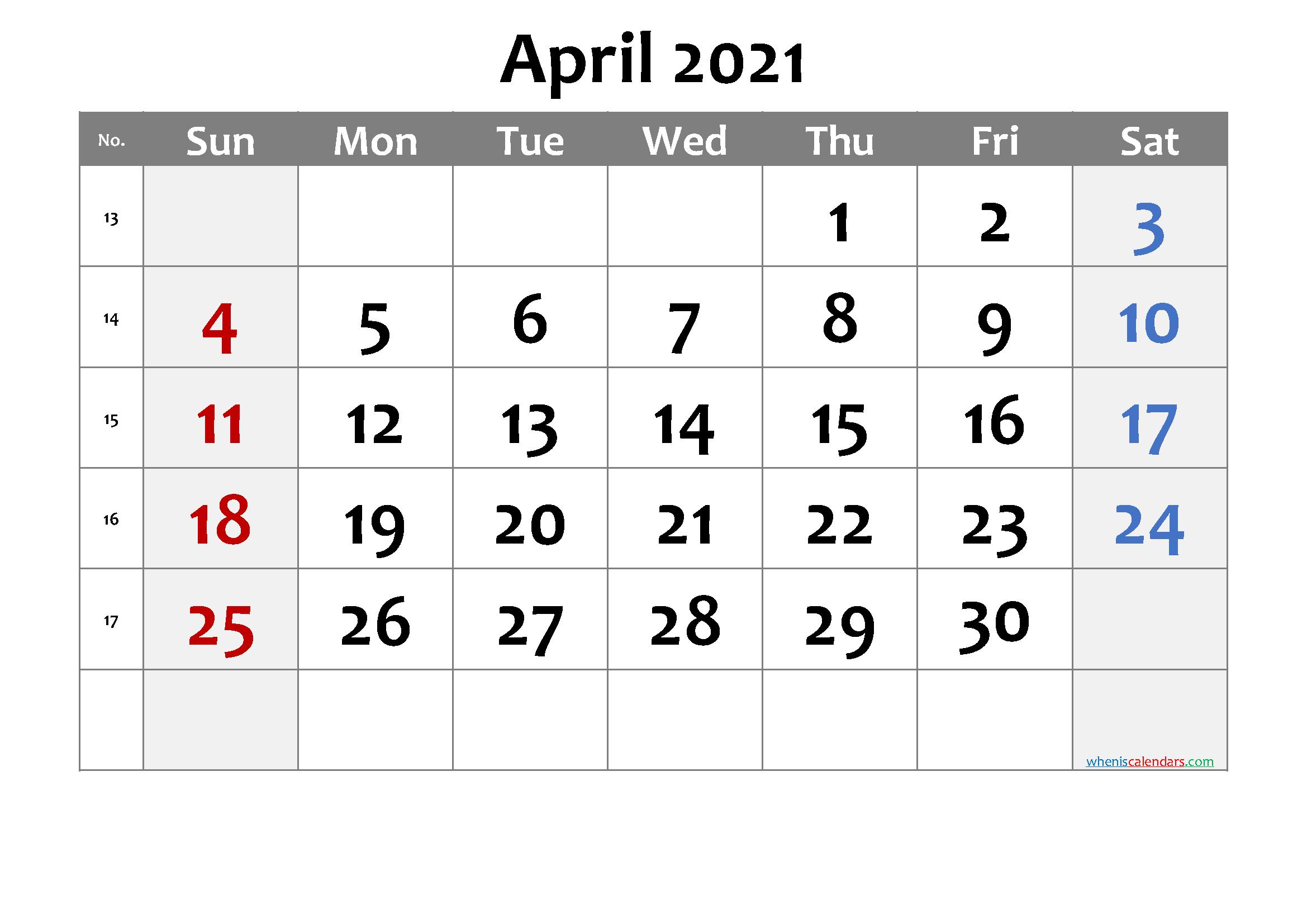 Printable Calendar April 2021