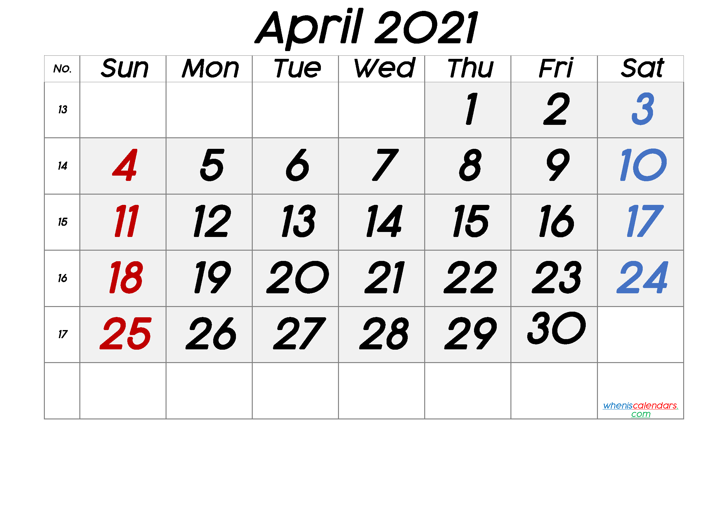 April 2021 Printable Calendar