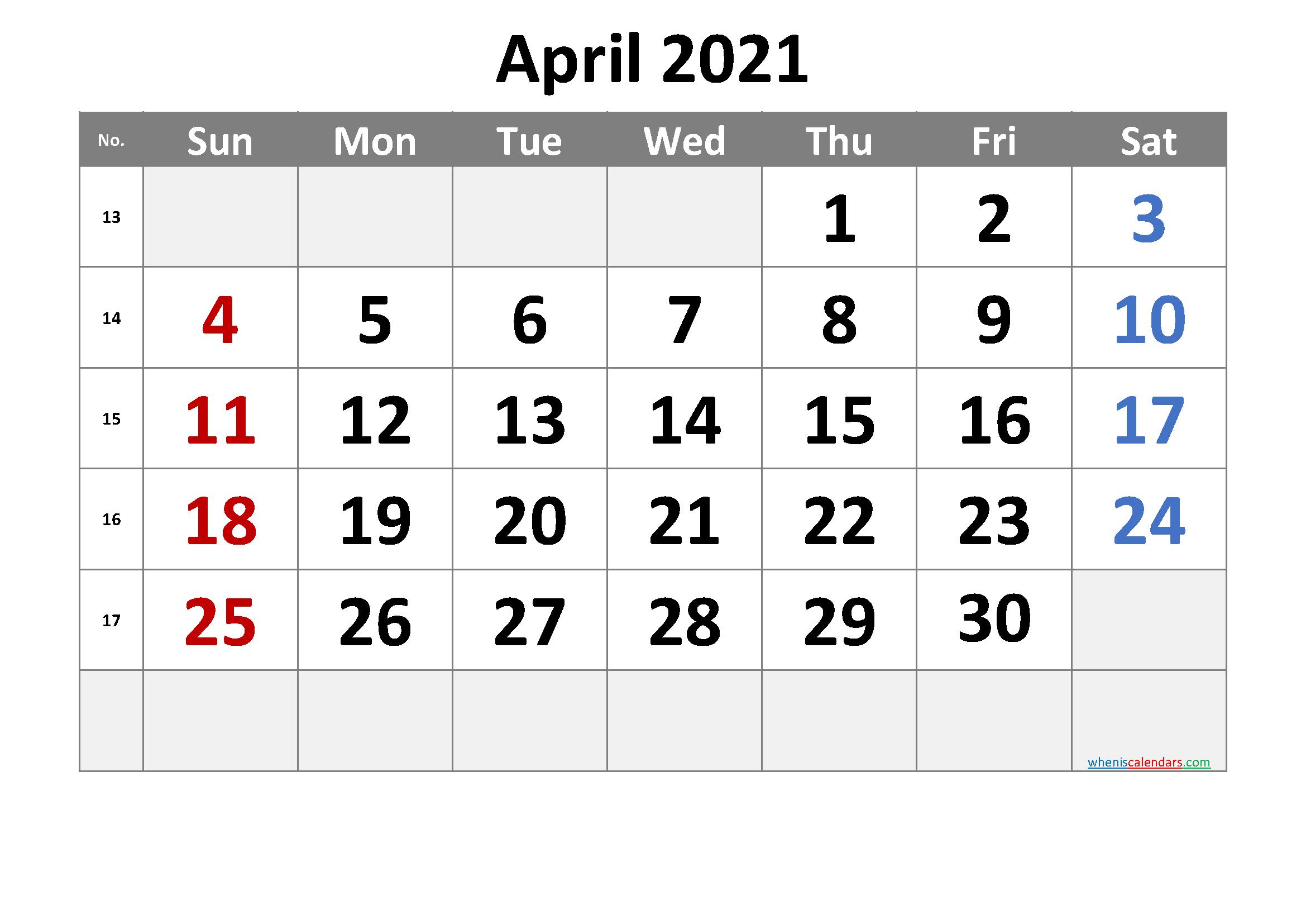 Printable April 2021 Calendar with Week Numbers