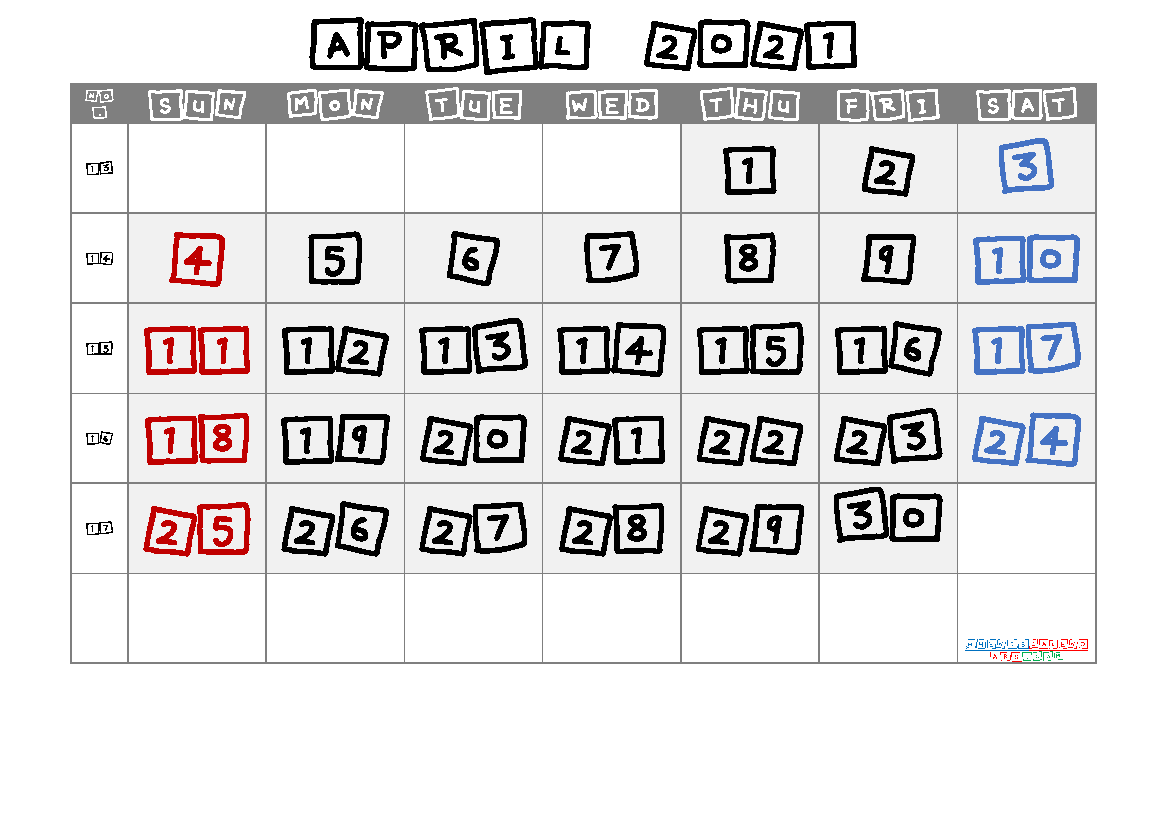 April 2021 Printable Calendar with Week Numbers