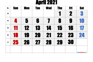 Download Free Printable Calendar April 2021