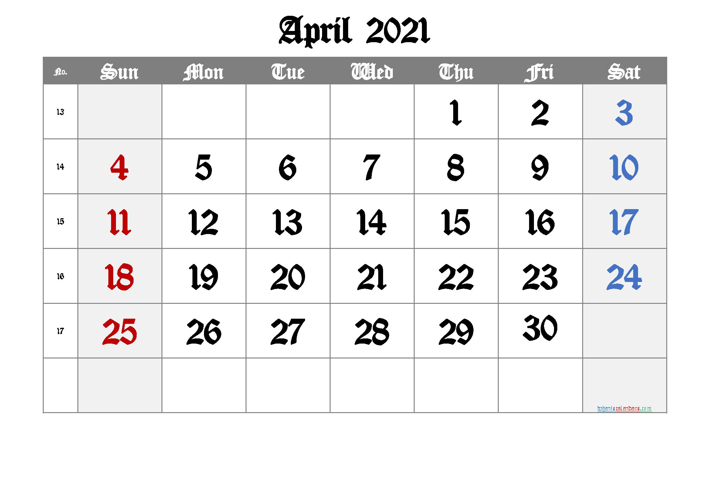 Free Printable Calendar 2021 April