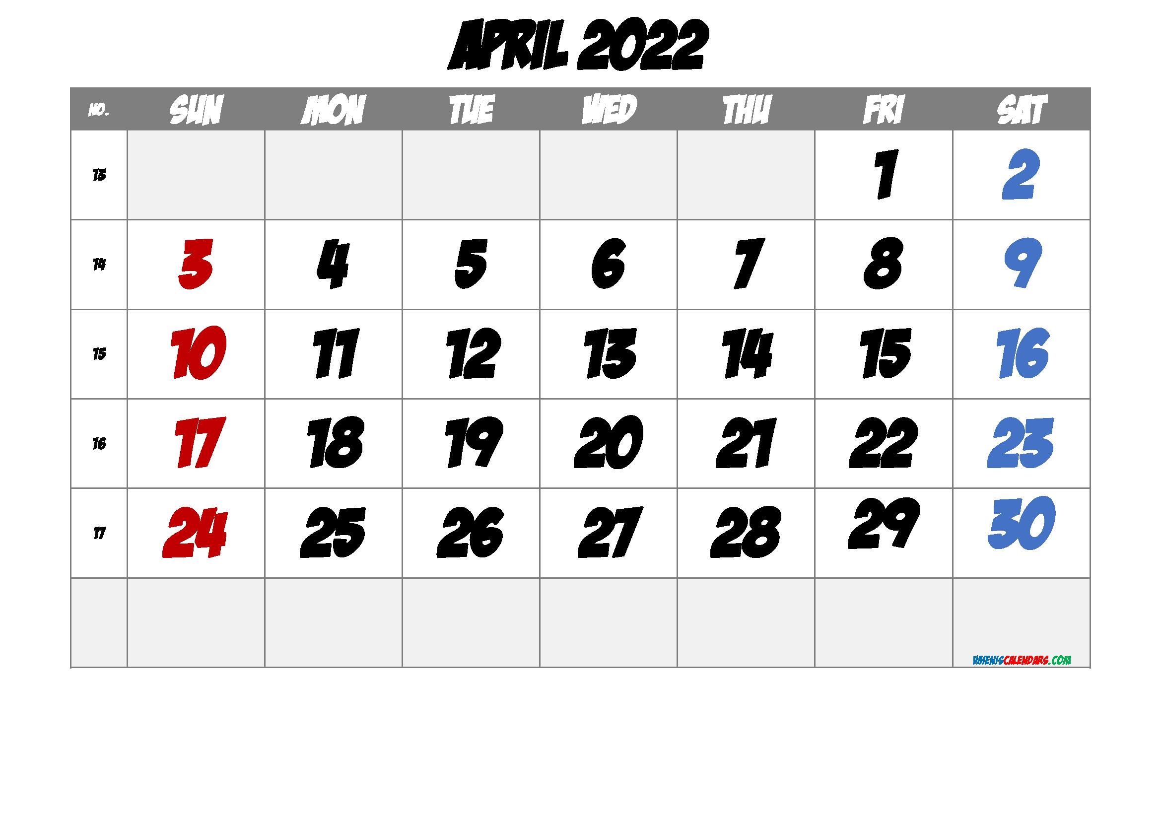 Printable April 2022 Calendar