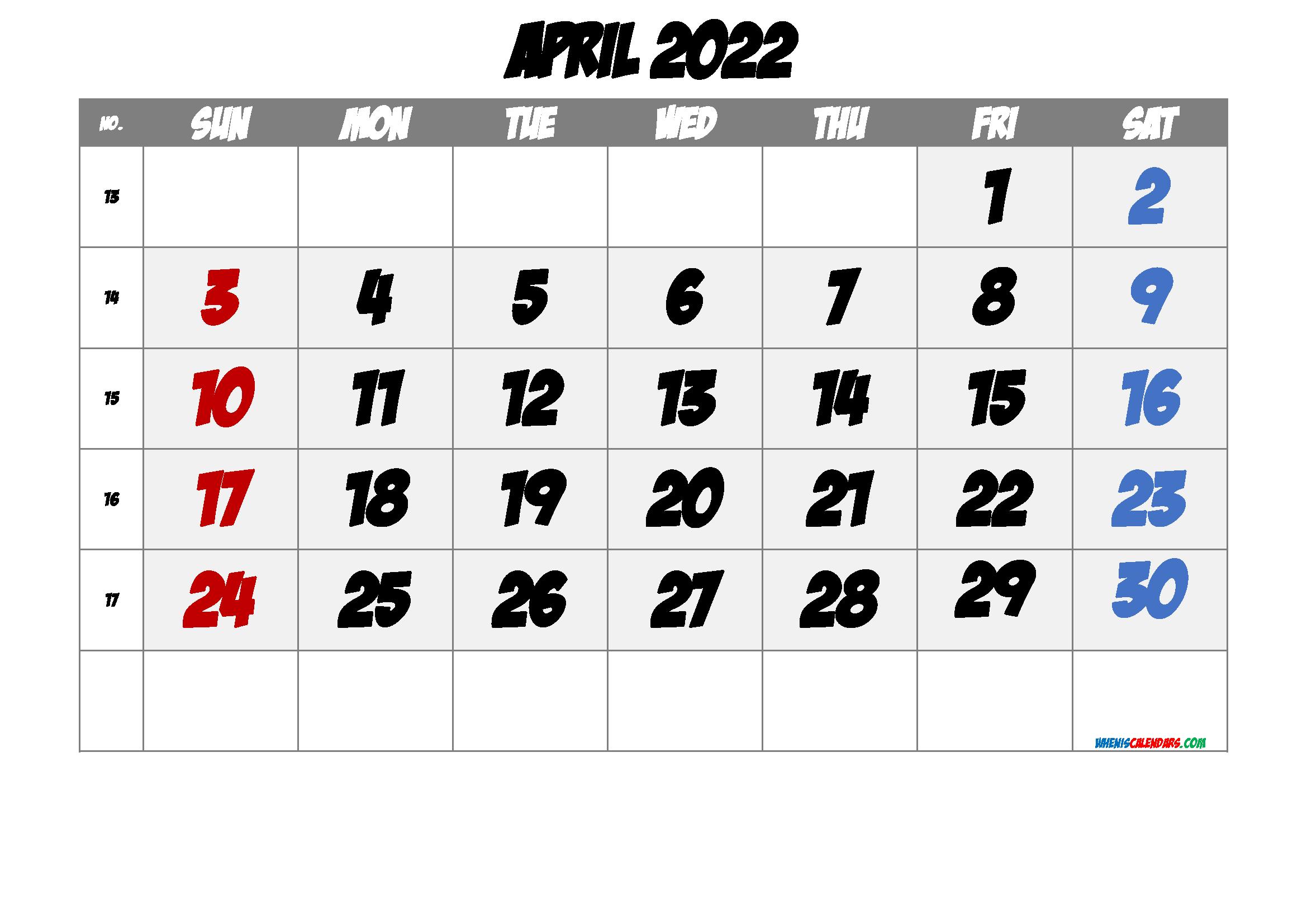 Printable Calendar April 2022