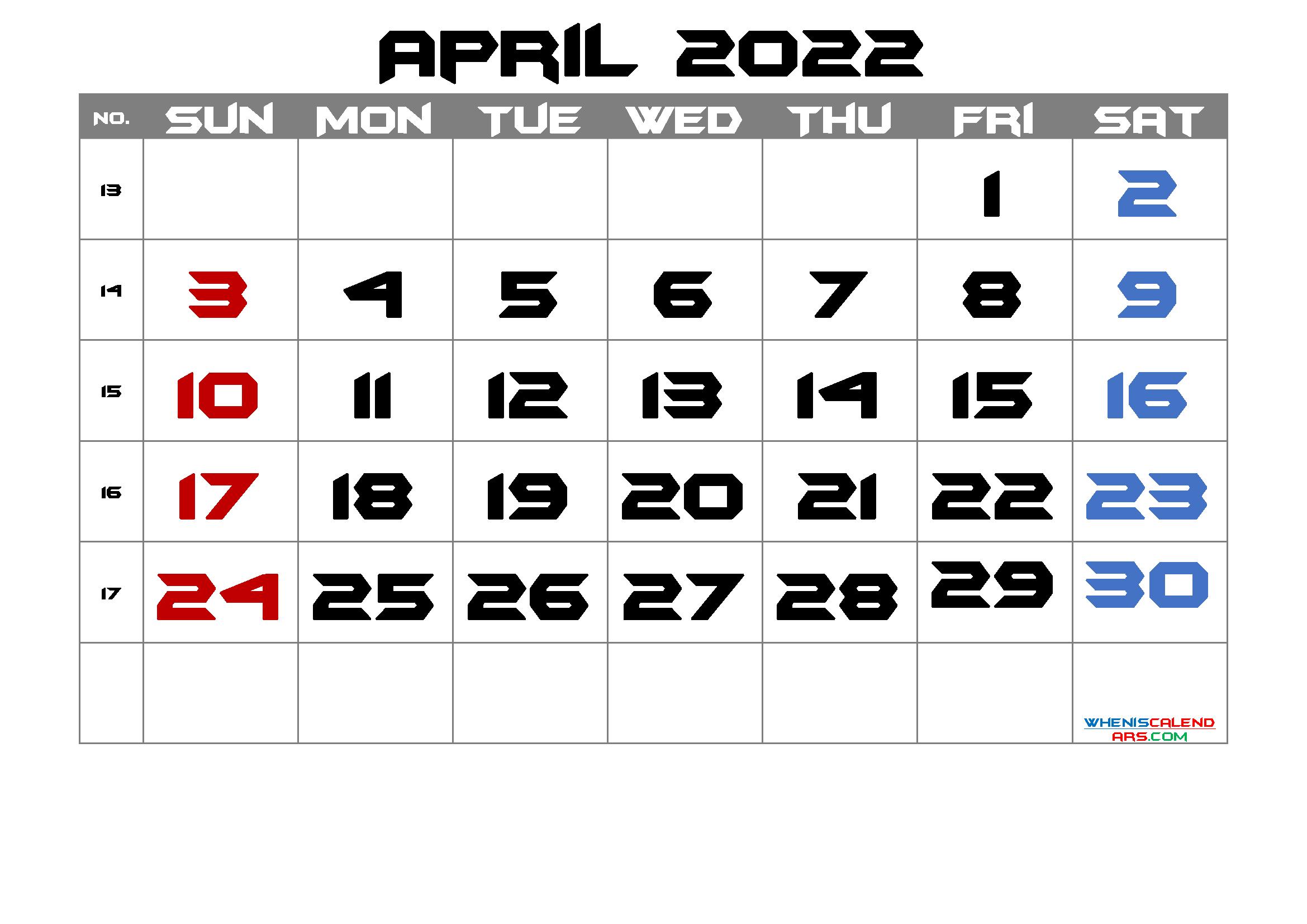 April 2022 Printable Calendar