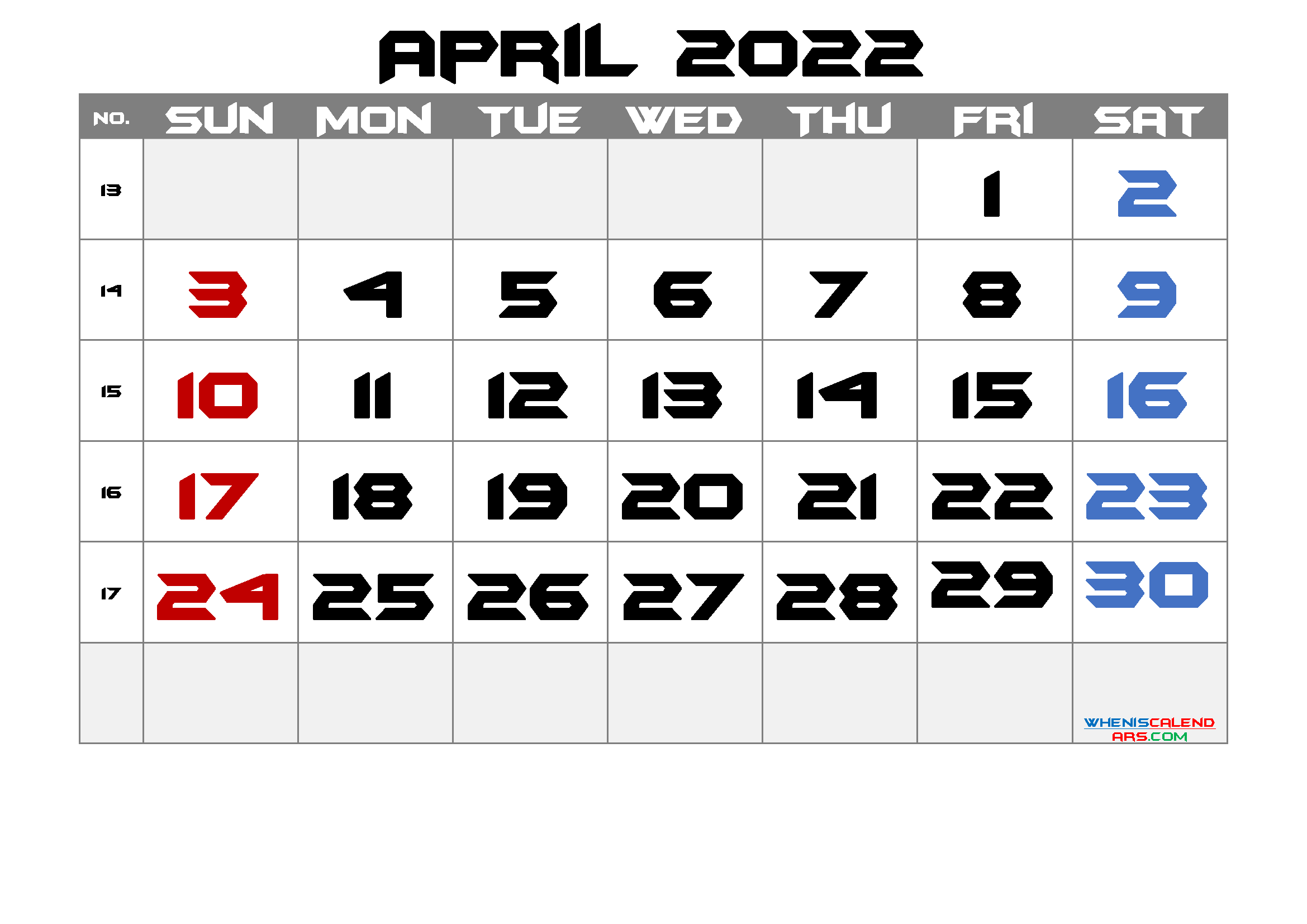 2022 April Free Printable Calendar