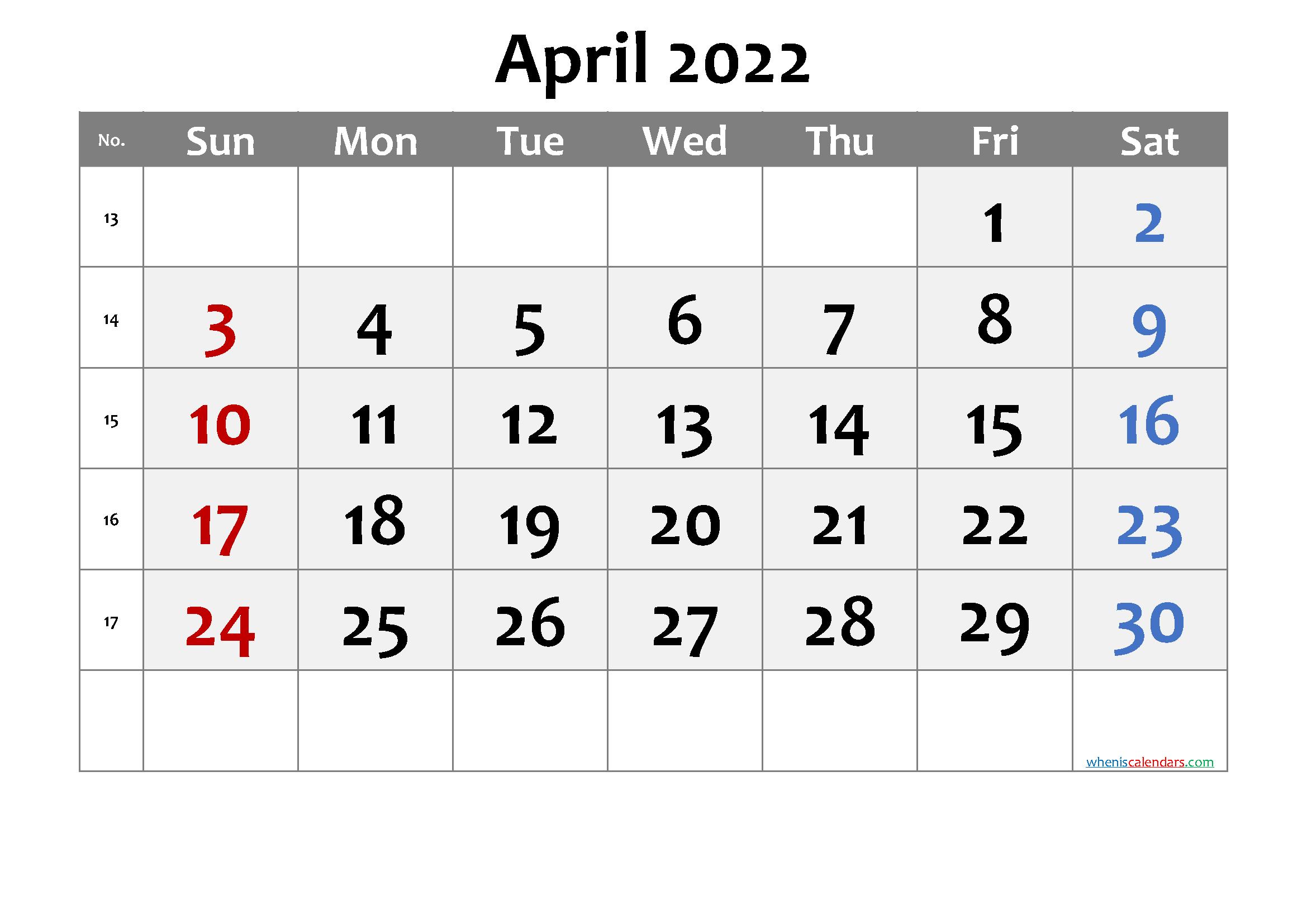 Free Printable 2022 April  Calendar