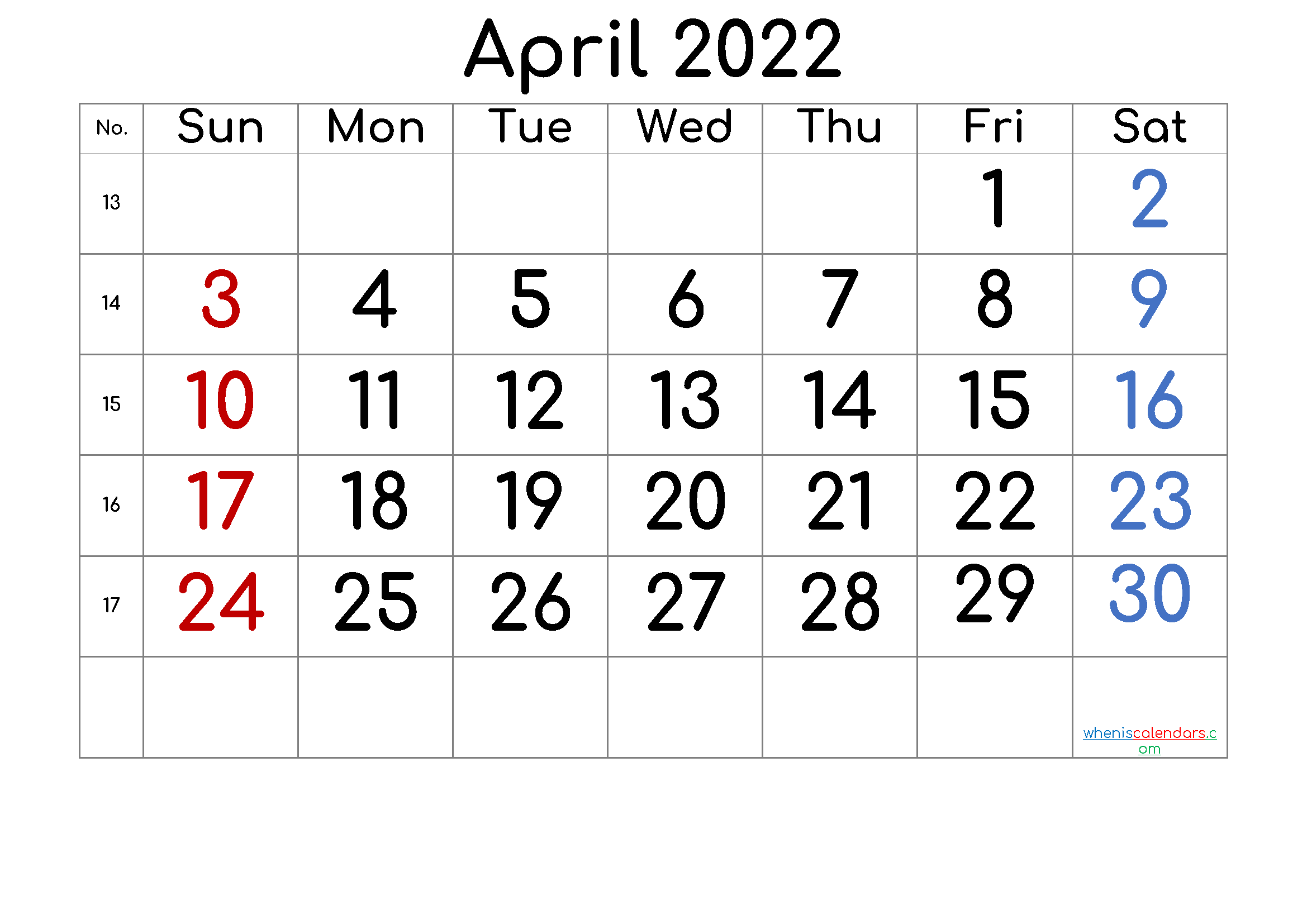 April 2022 Printable Calendar with Week Numbers