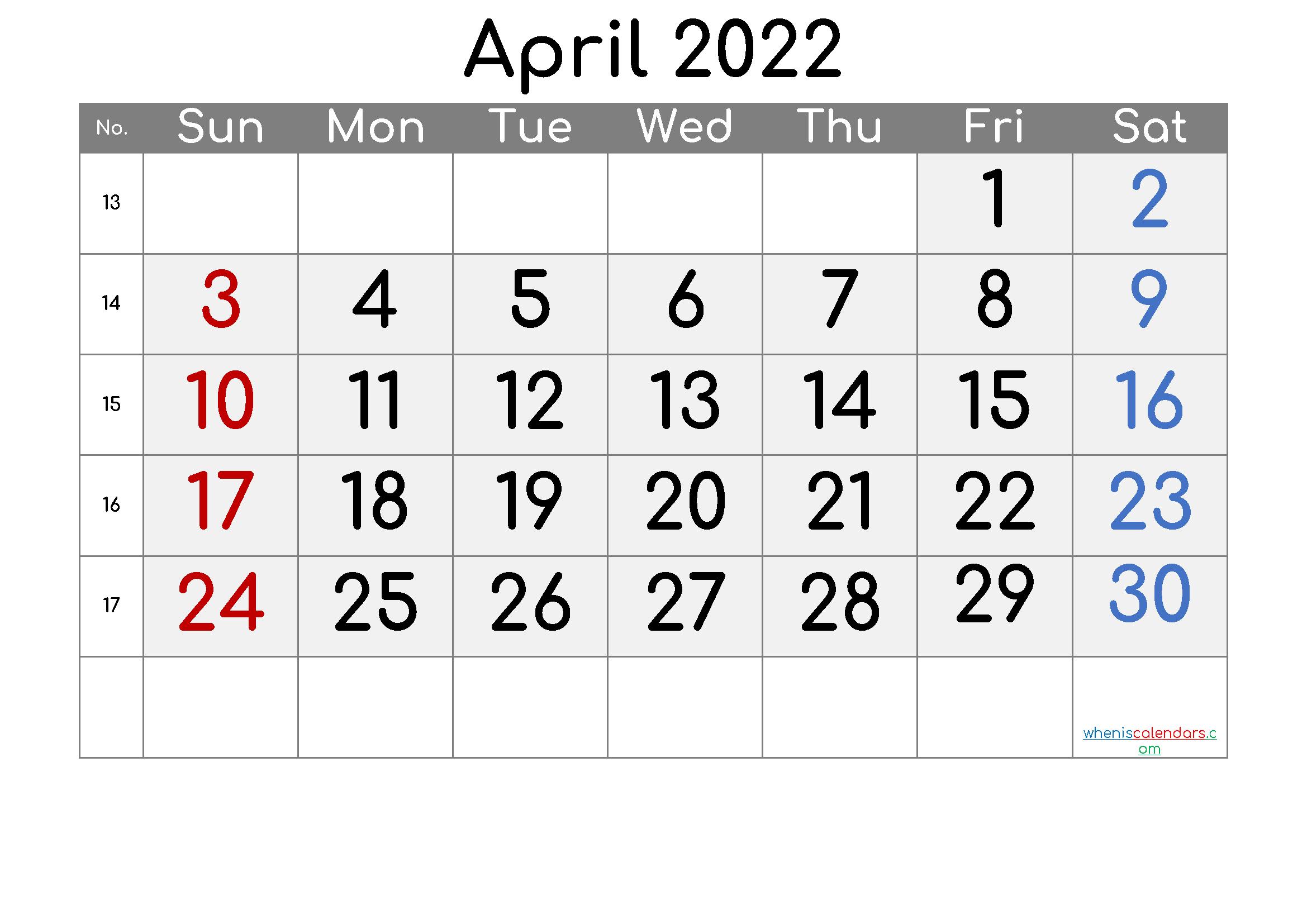 Free April 2022 Calendar
