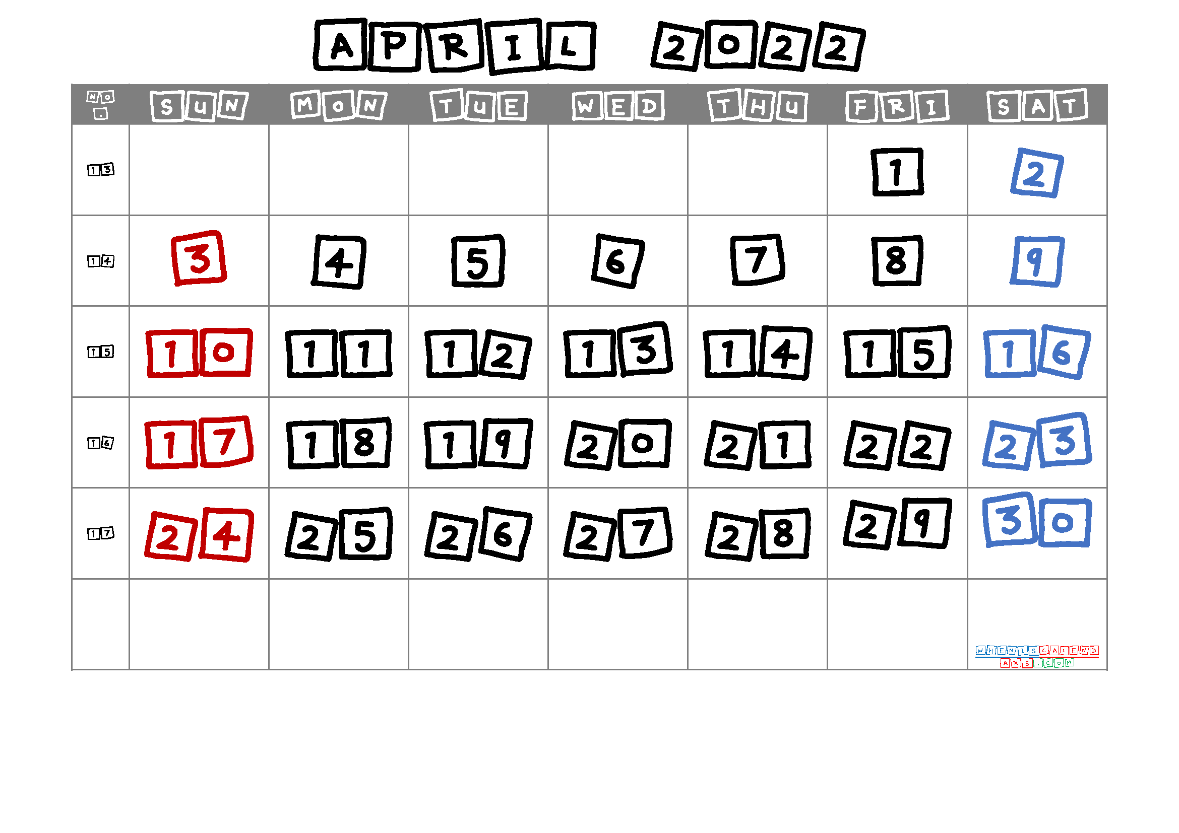 Free Printable April 2022 Calendar with Week Numbers