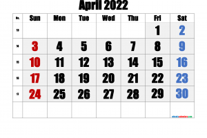 Download Free Printable Calendar April 2022
