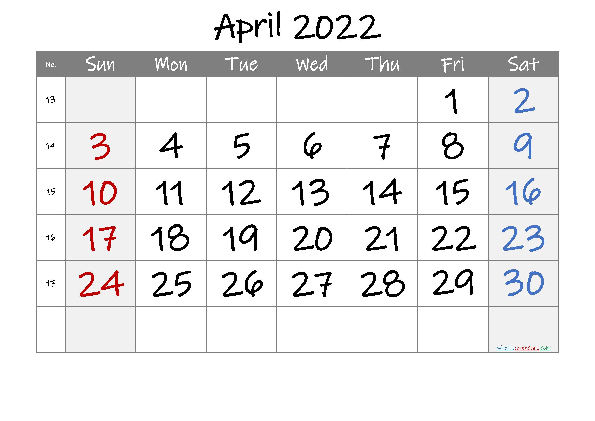 April 2022 Printable Calendar with Week Numbers