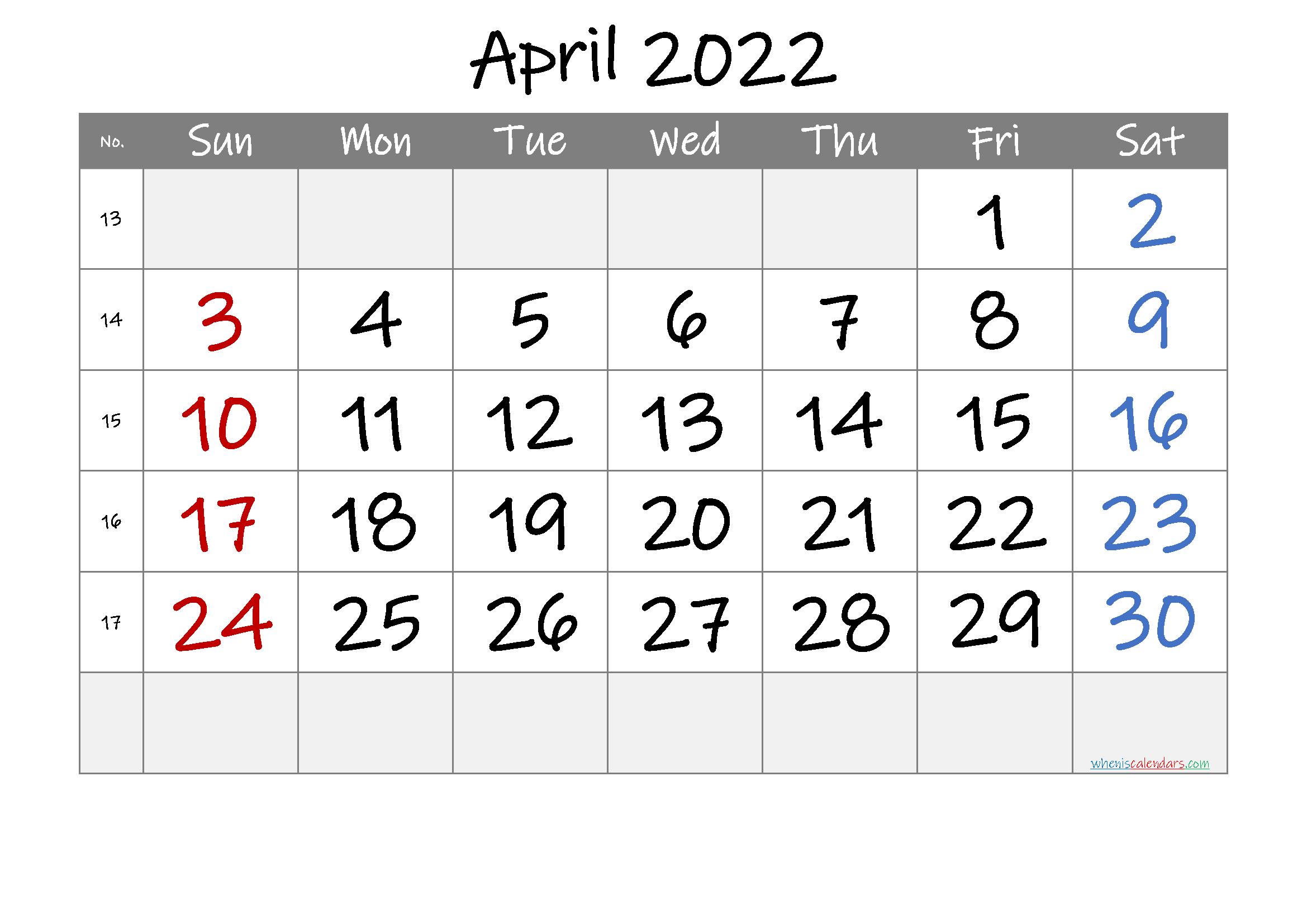 Printable April 2022 Calendar with Week Numbers