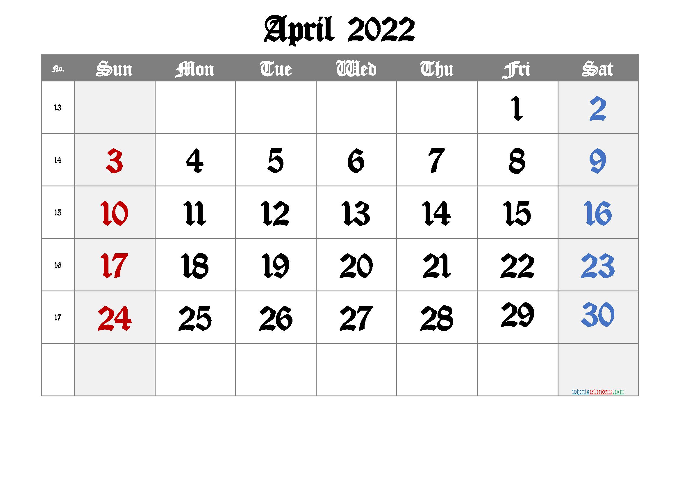 Free Printable Calendar 2022 April