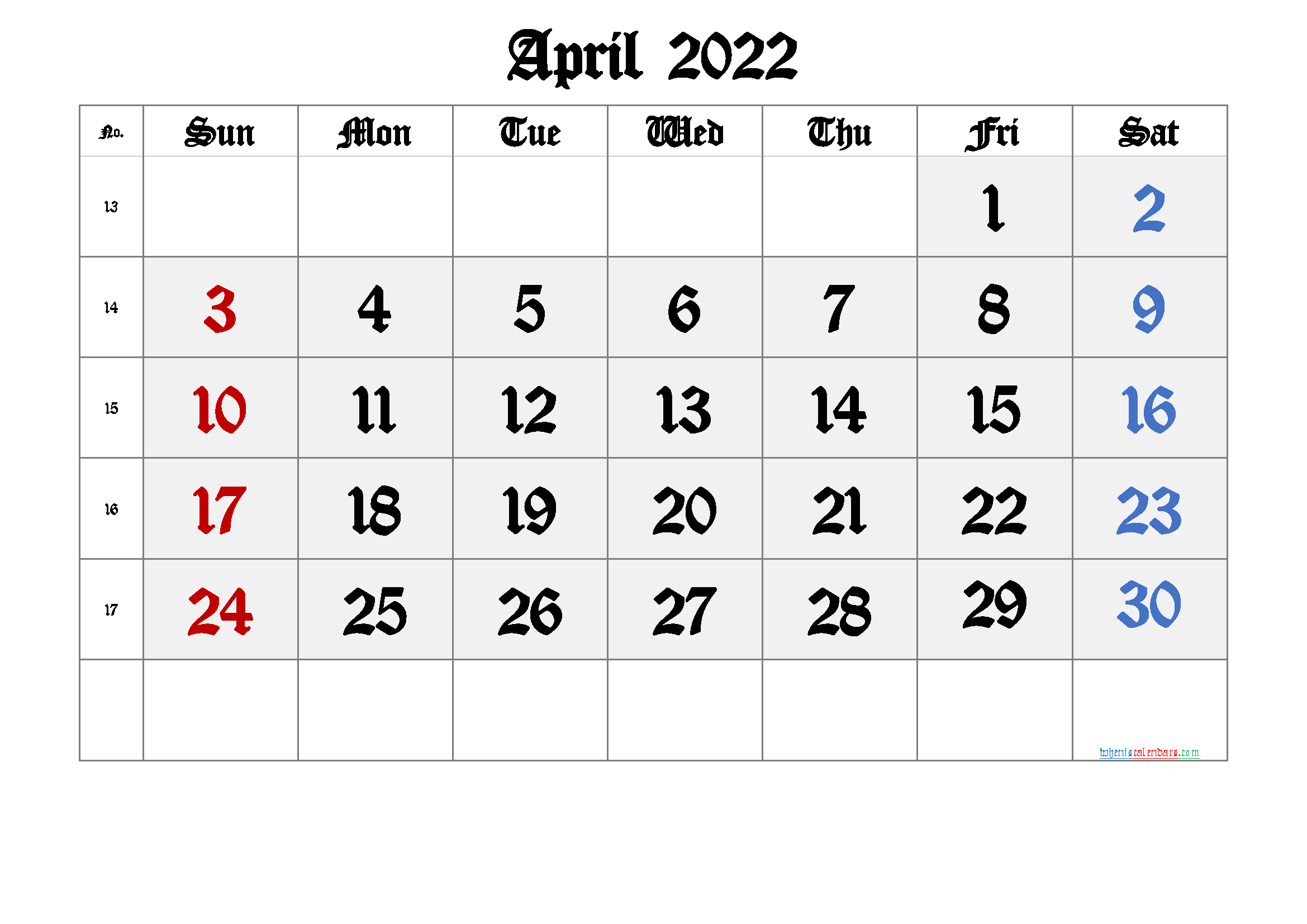 Printable April 2022 Calendar with Week Numbers