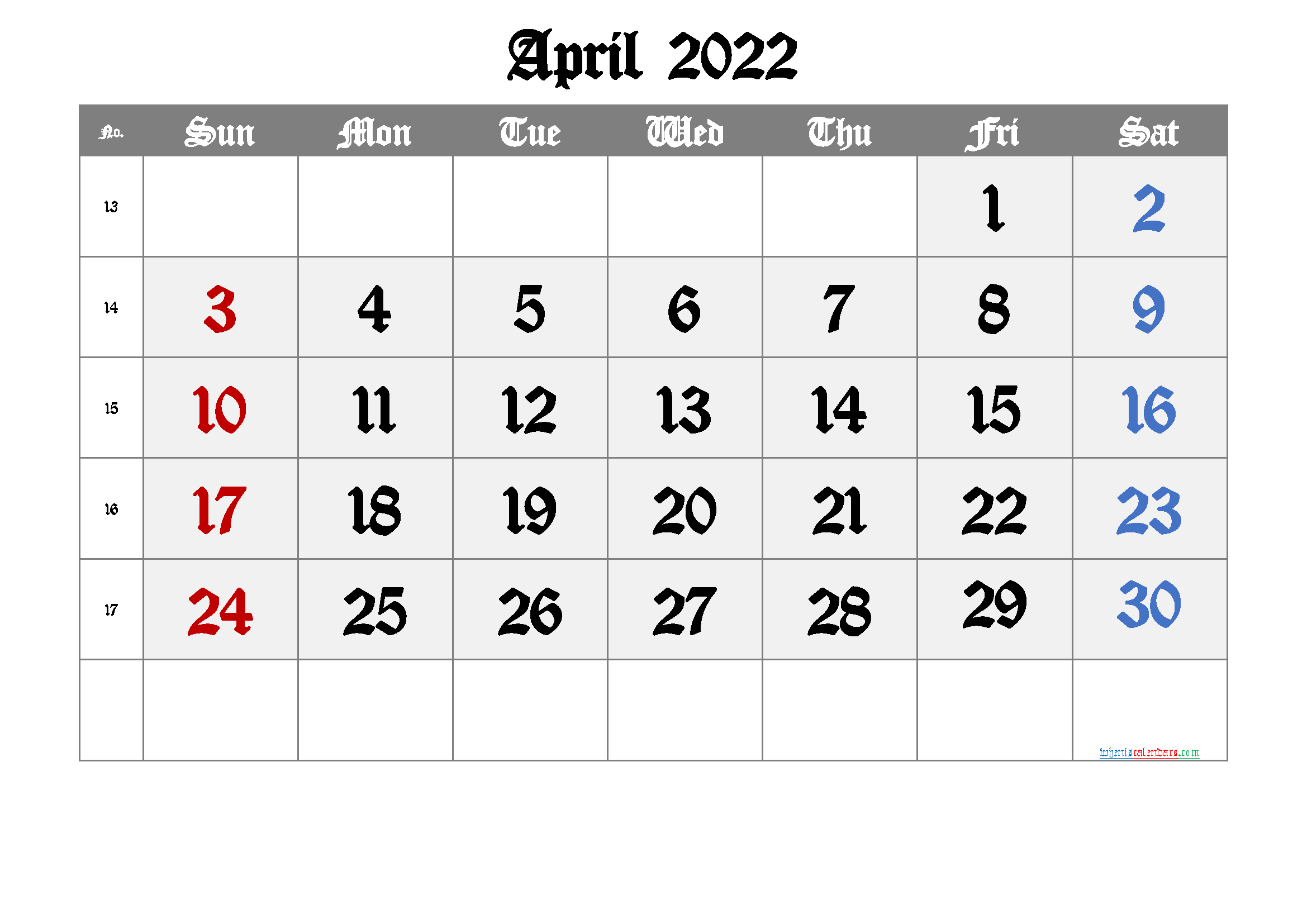 Free April 2022 Calendar with Week Numbers