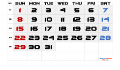 Printable August 2021 Calendar with Week Numbers