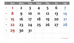 Printable August 2021 Calendar