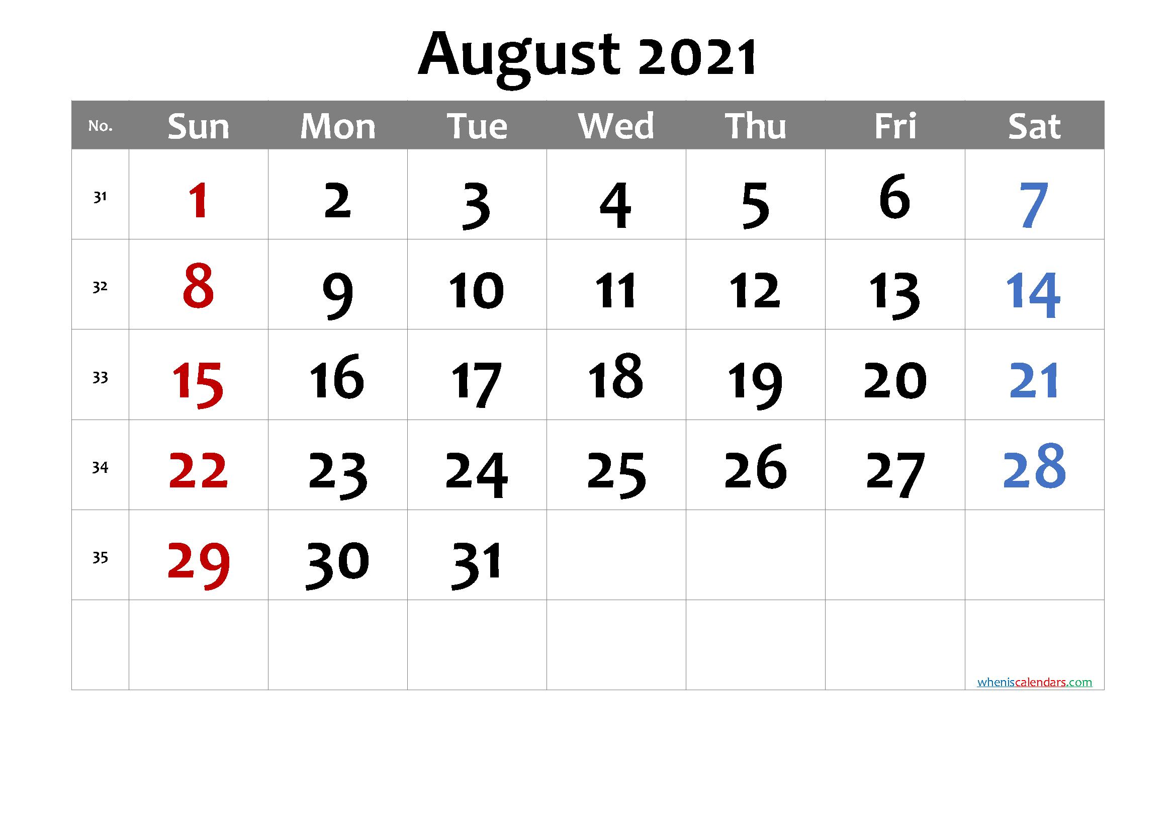 Free Printable August 2021 Calendar with Week Numbers