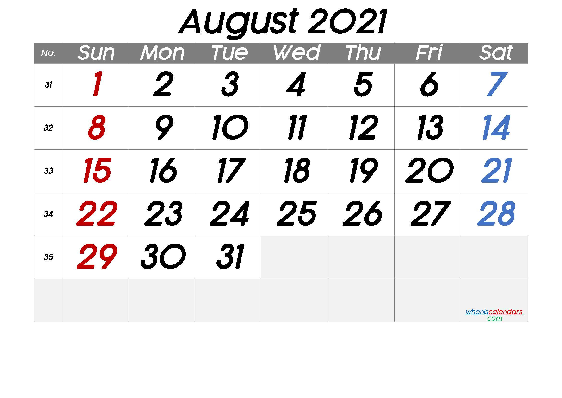Free Printable August 2021 Calendar with Week Numbers