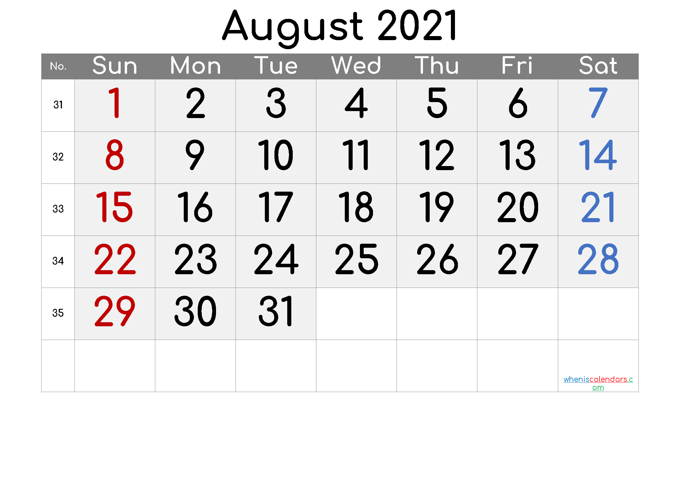 Free August 2021 Calendar with Week Numbers