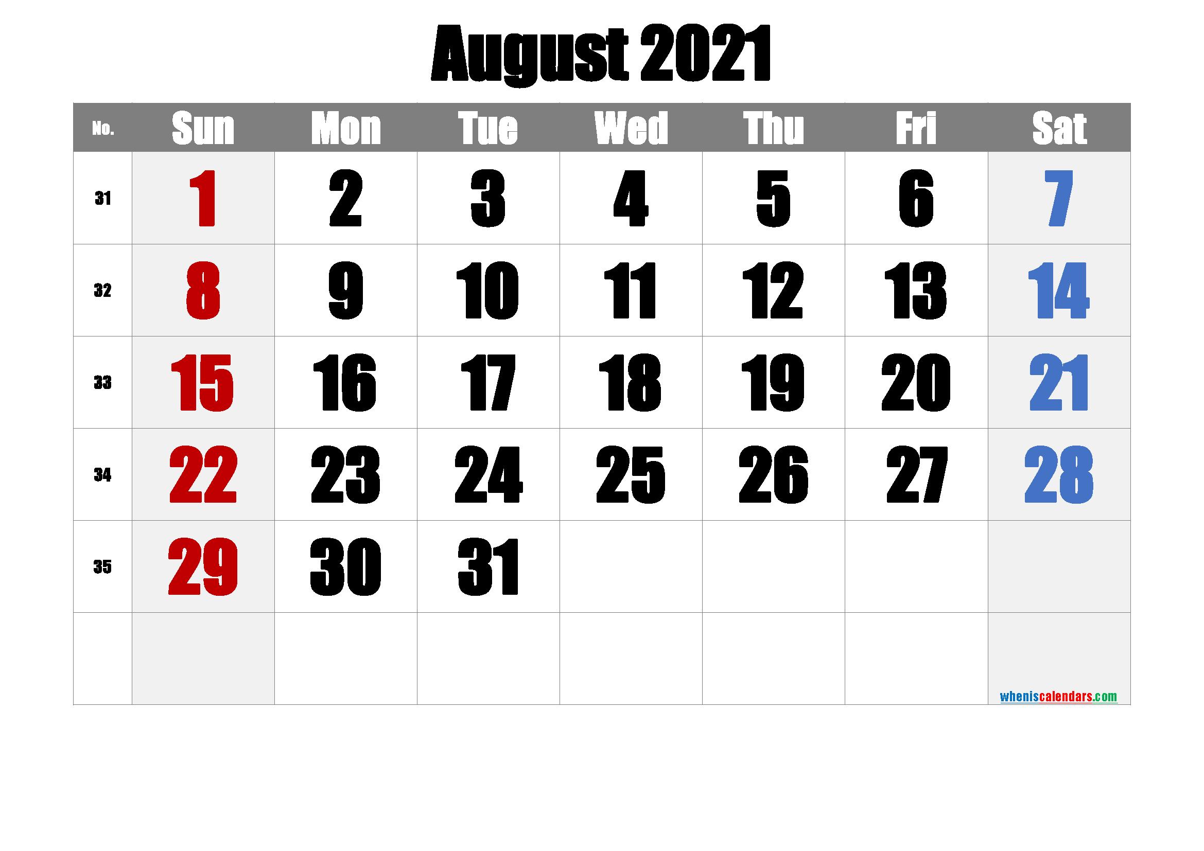 Free August 2021 Calendar