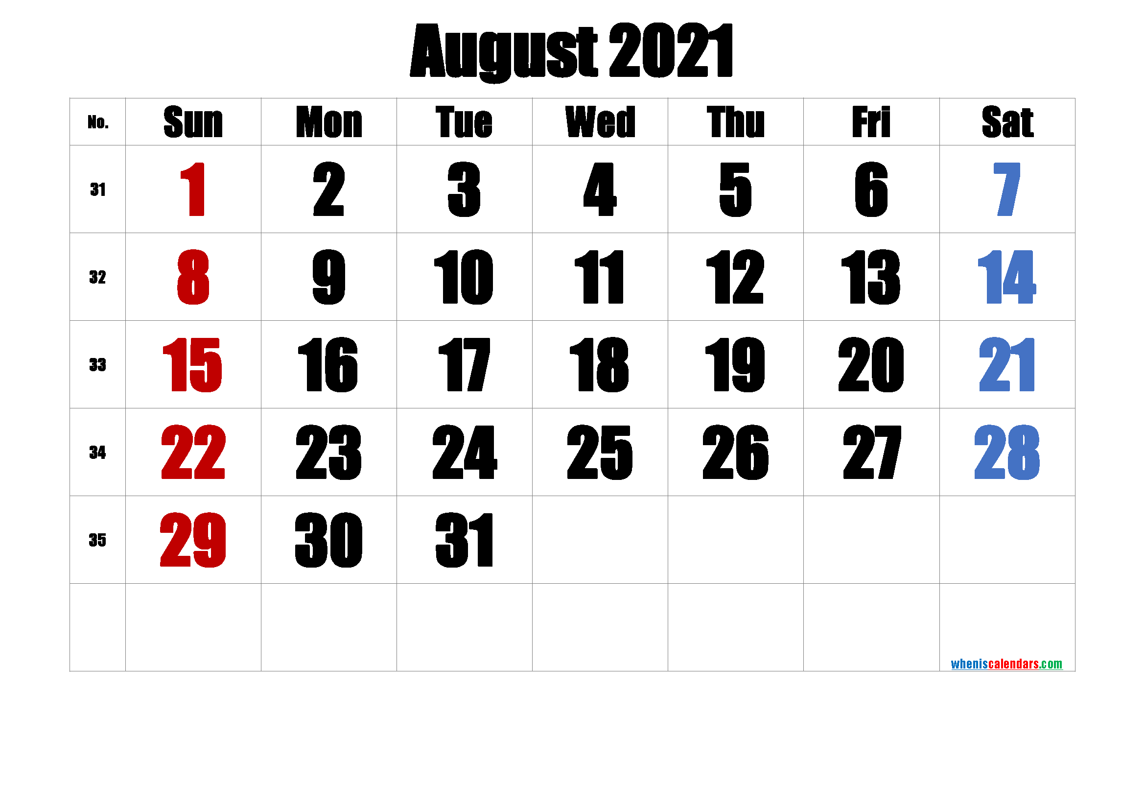 Printable Calendar August 2021