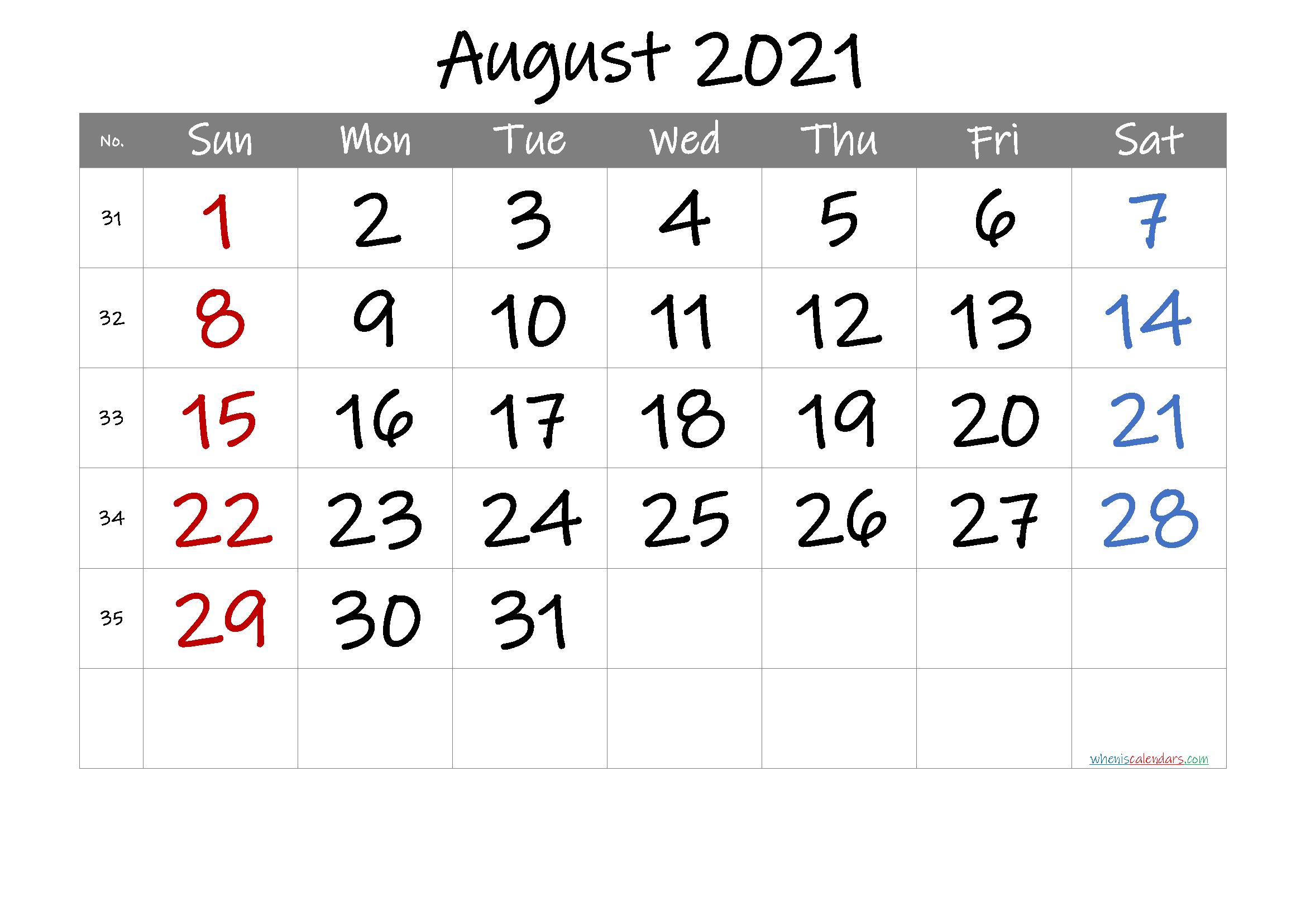 2021 August Free Printable Calendar
