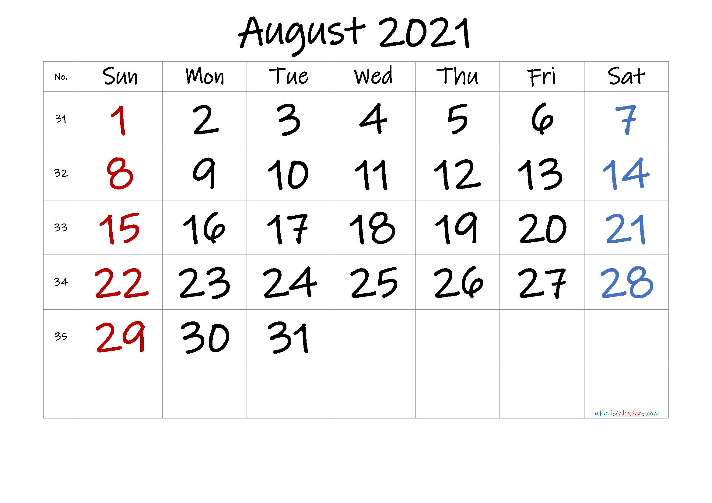 Free August 2021 Calendar with Week Numbers