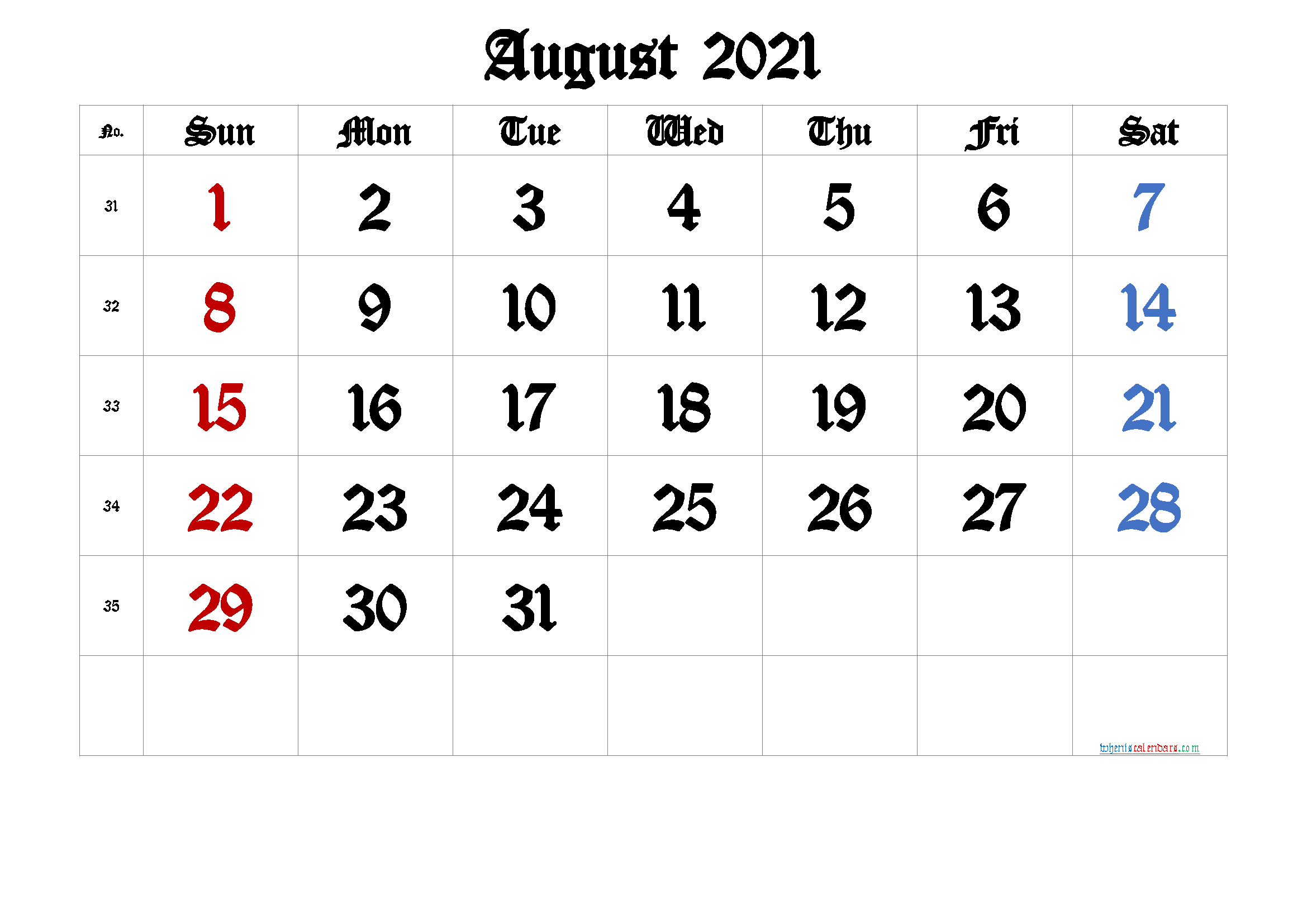 August 2021 Printable Calendar with Week Numbers