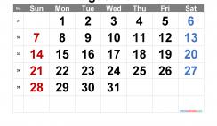 Printable August 2022 Calendar with Week Numbers