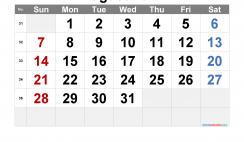 Free Printable August 2022 Calendar with Week Numbers