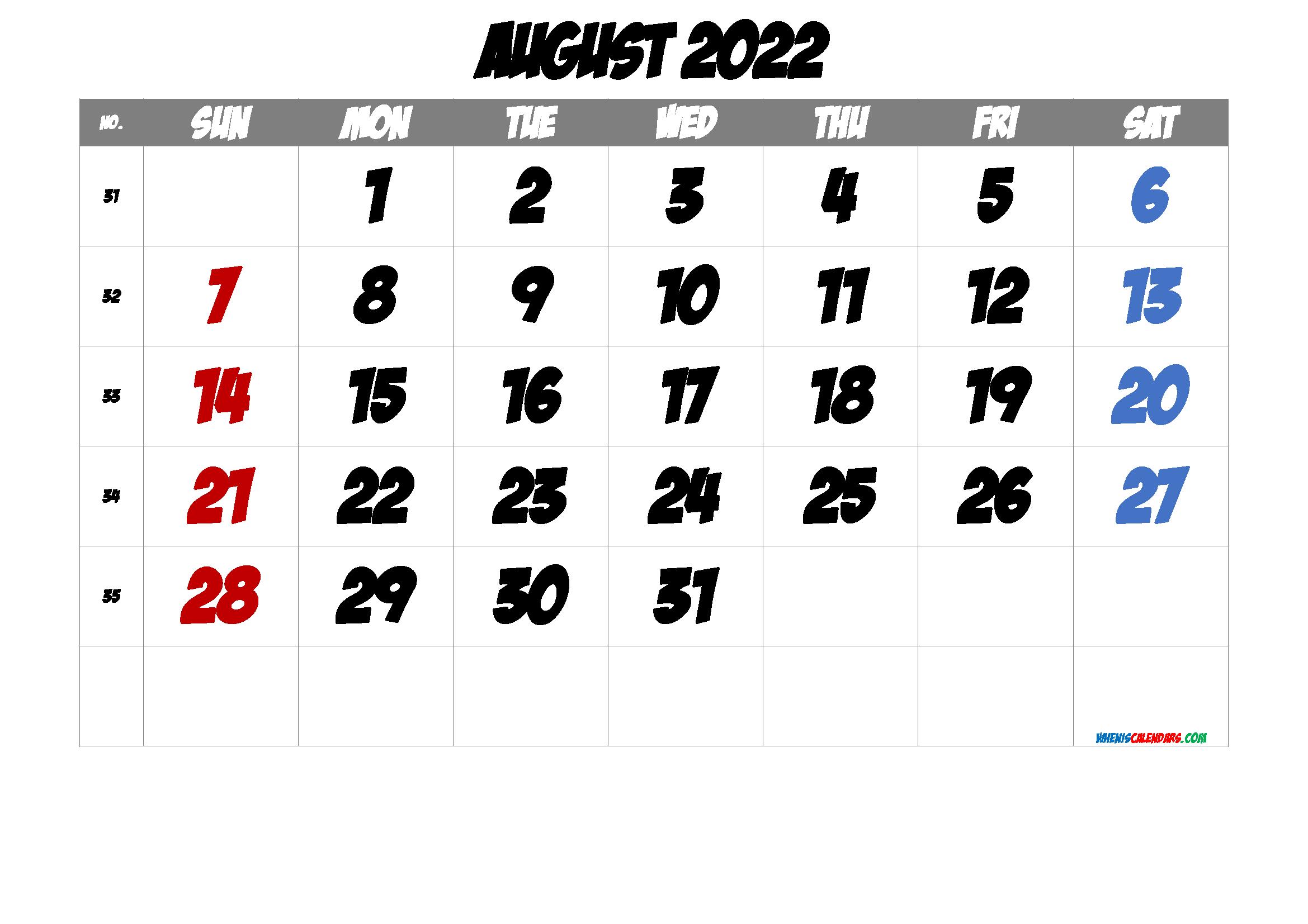 2022 August Free Printable Calendar