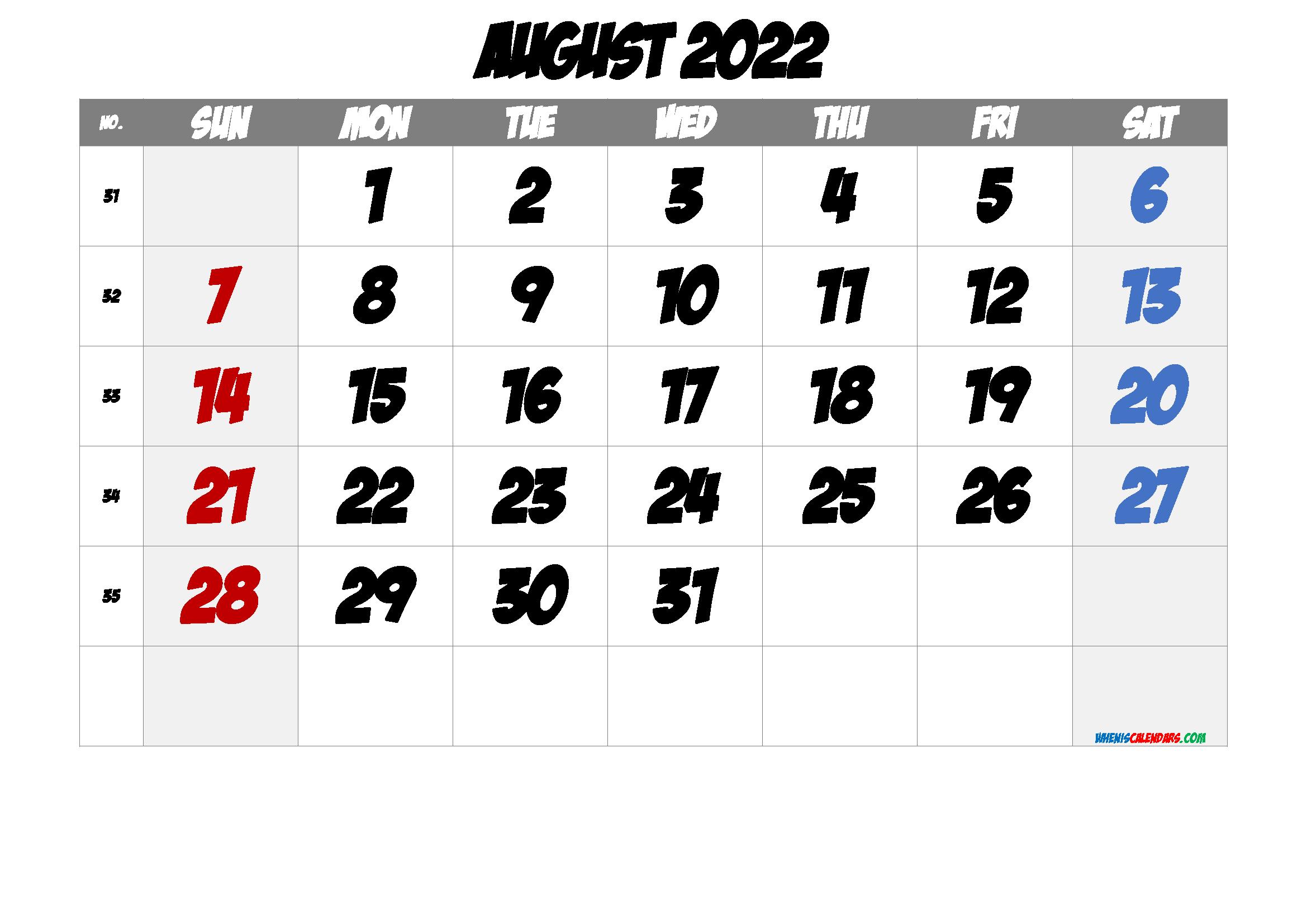 August 2022 Printable Calendar with Week Numbers