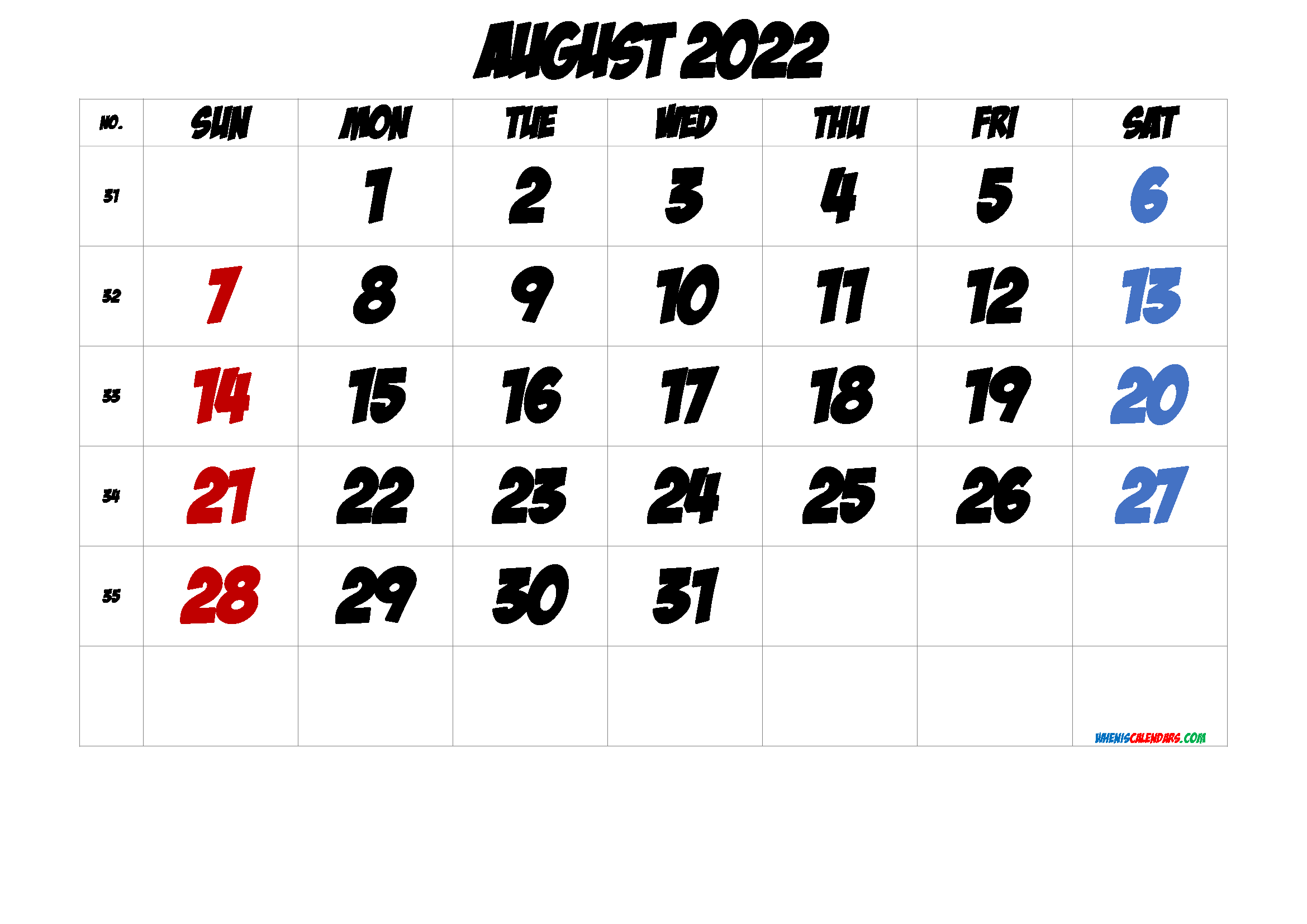 Free August 2022 Calendar with Week Numbers