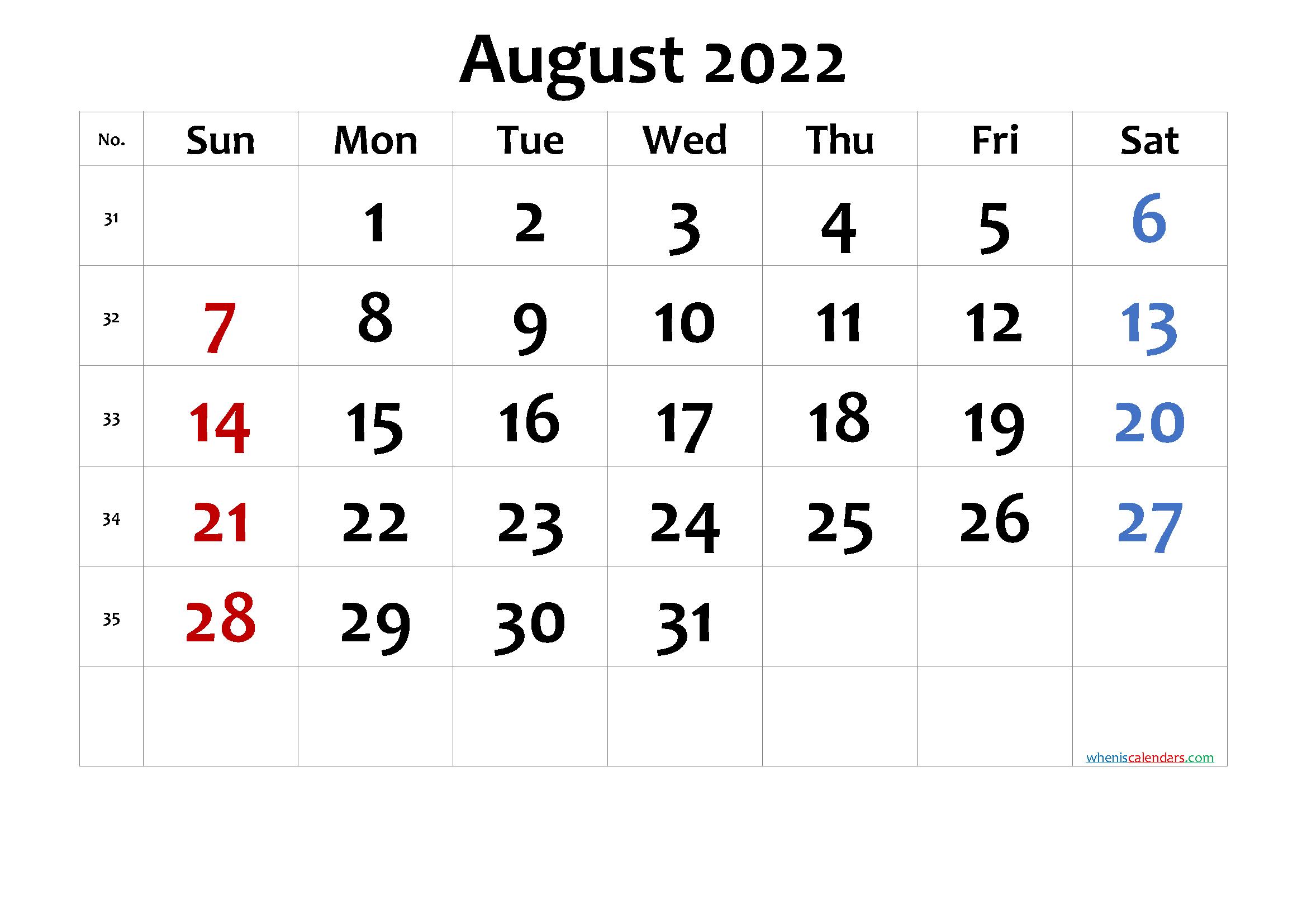 Free Printable Calendar August 2022.Printable Calendar 2022 August Free Printable 2021 Monthly Calendar With Holidays