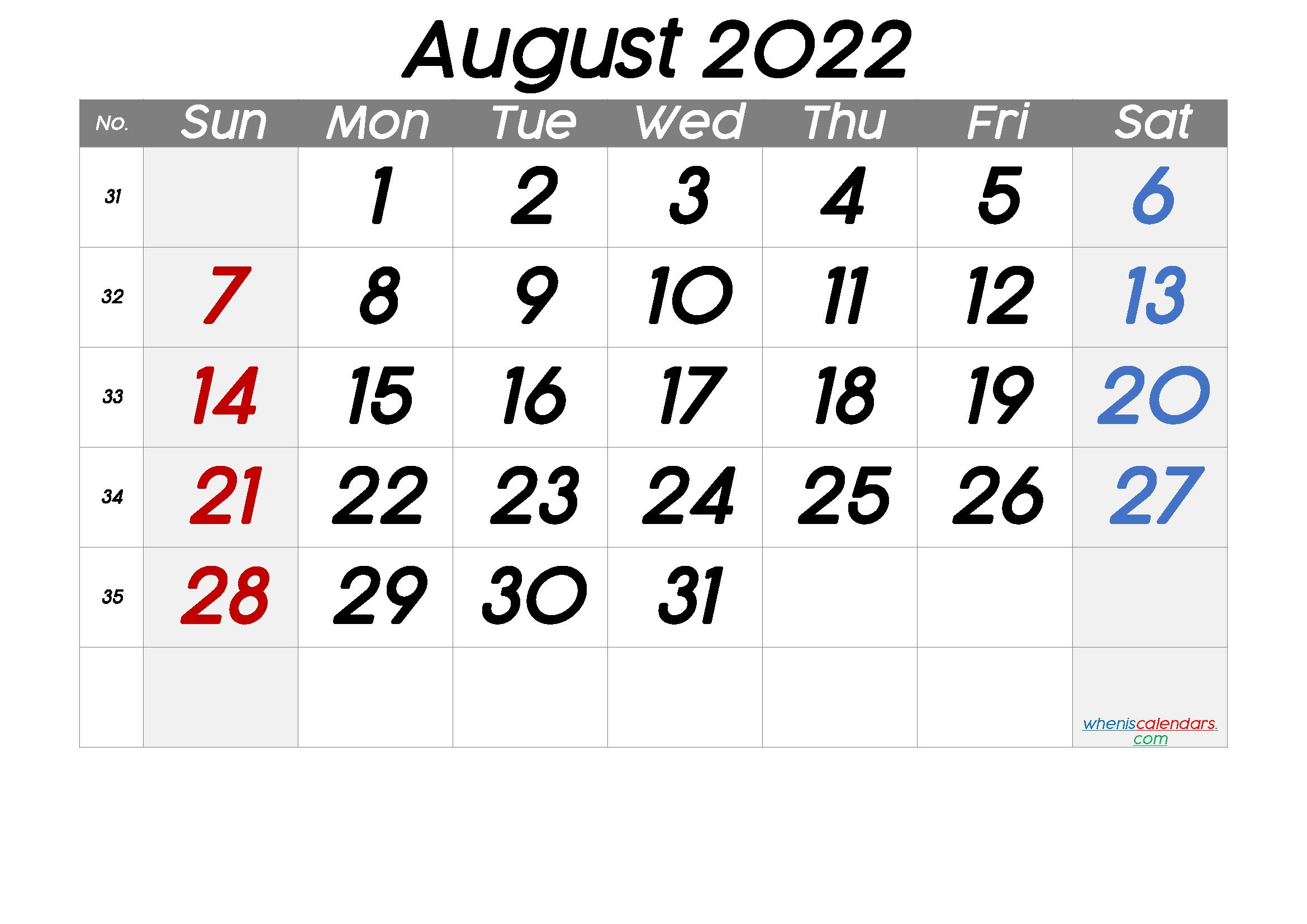 Free August 2022 Calendar with Week Numbers