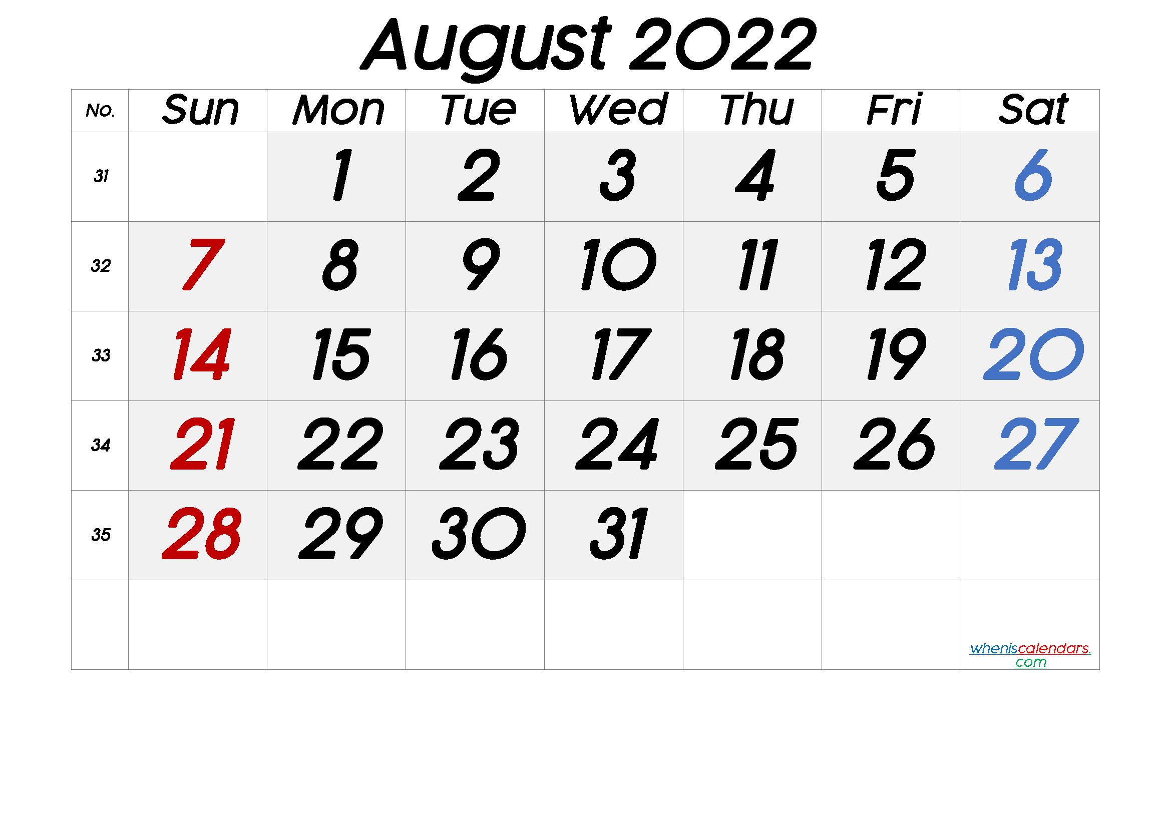 August 2022 Printable Calendar