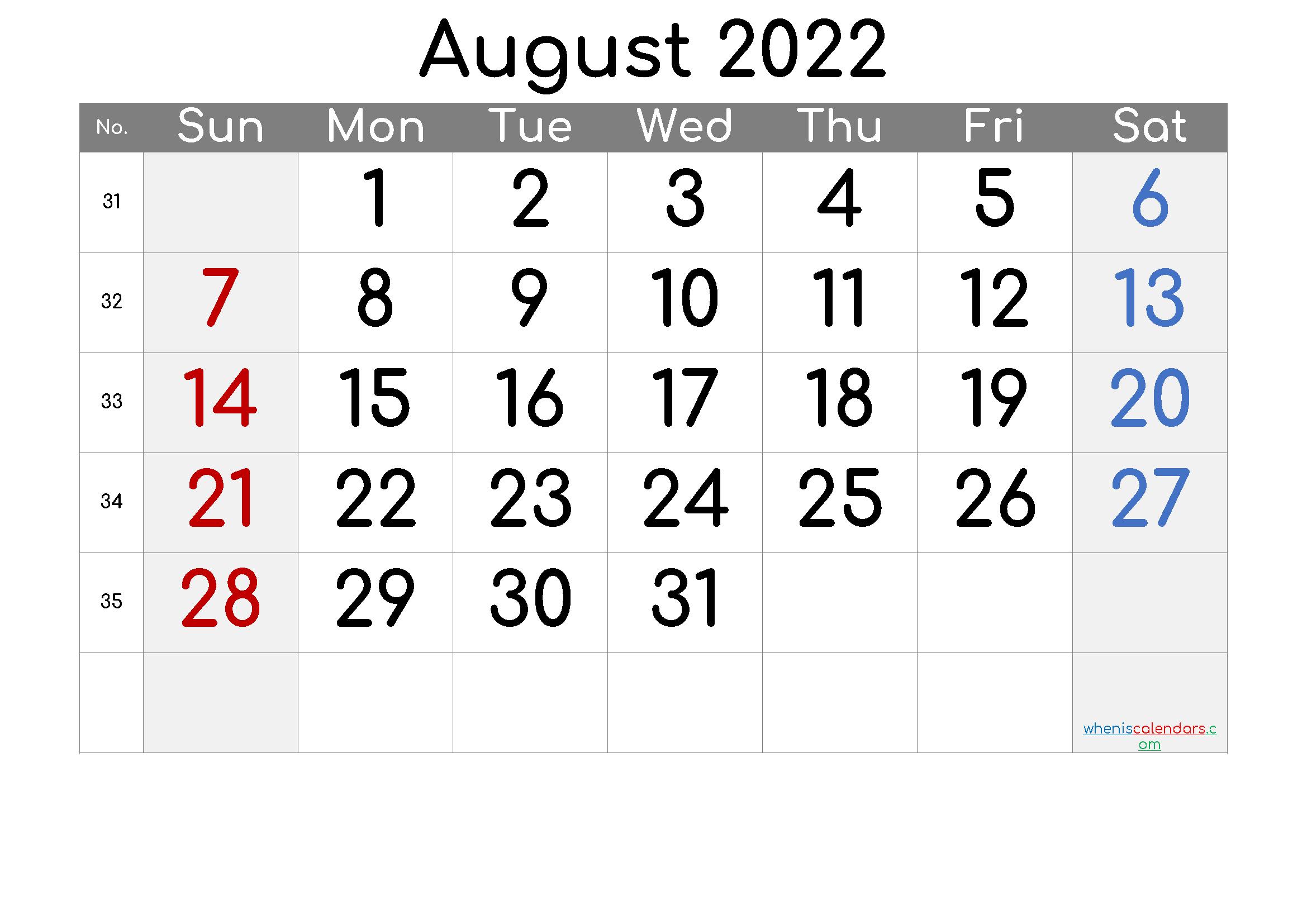 Free Printable Calendar 2022 August
