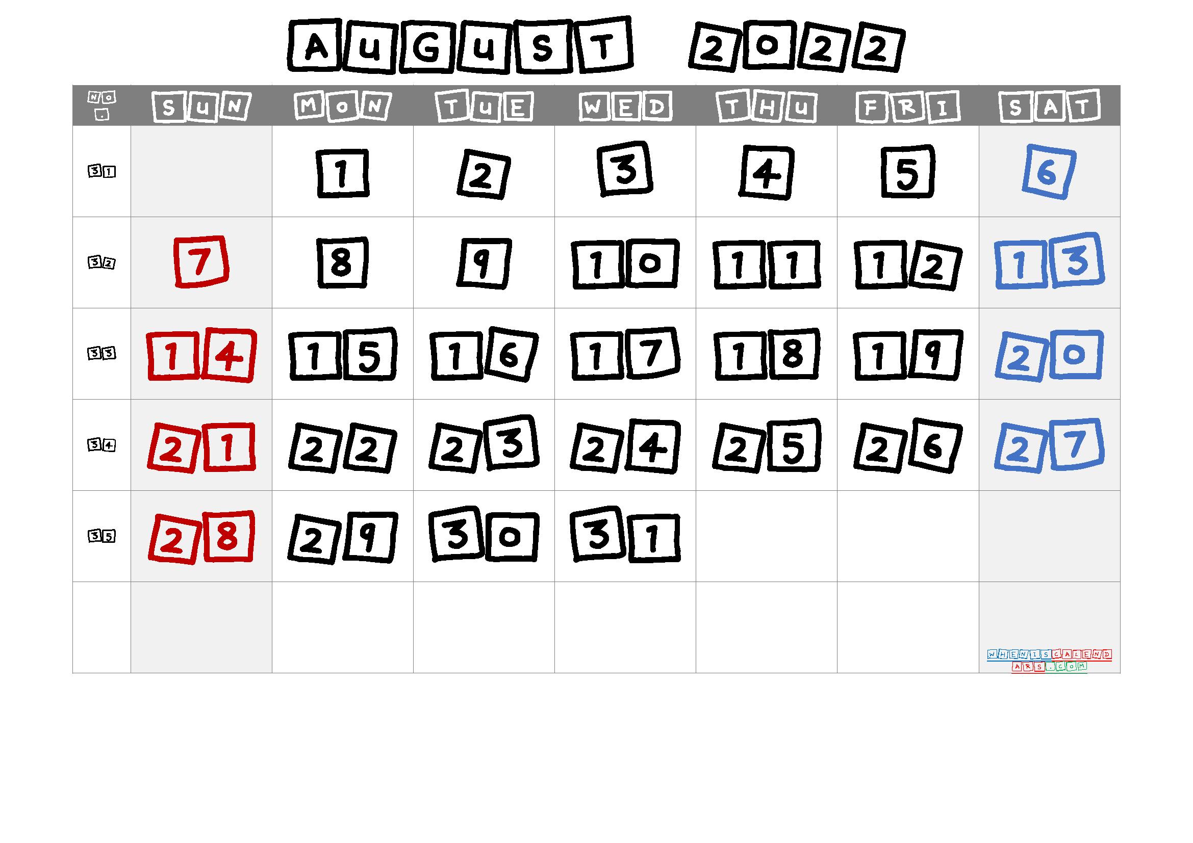 Printable Calendar August 2022