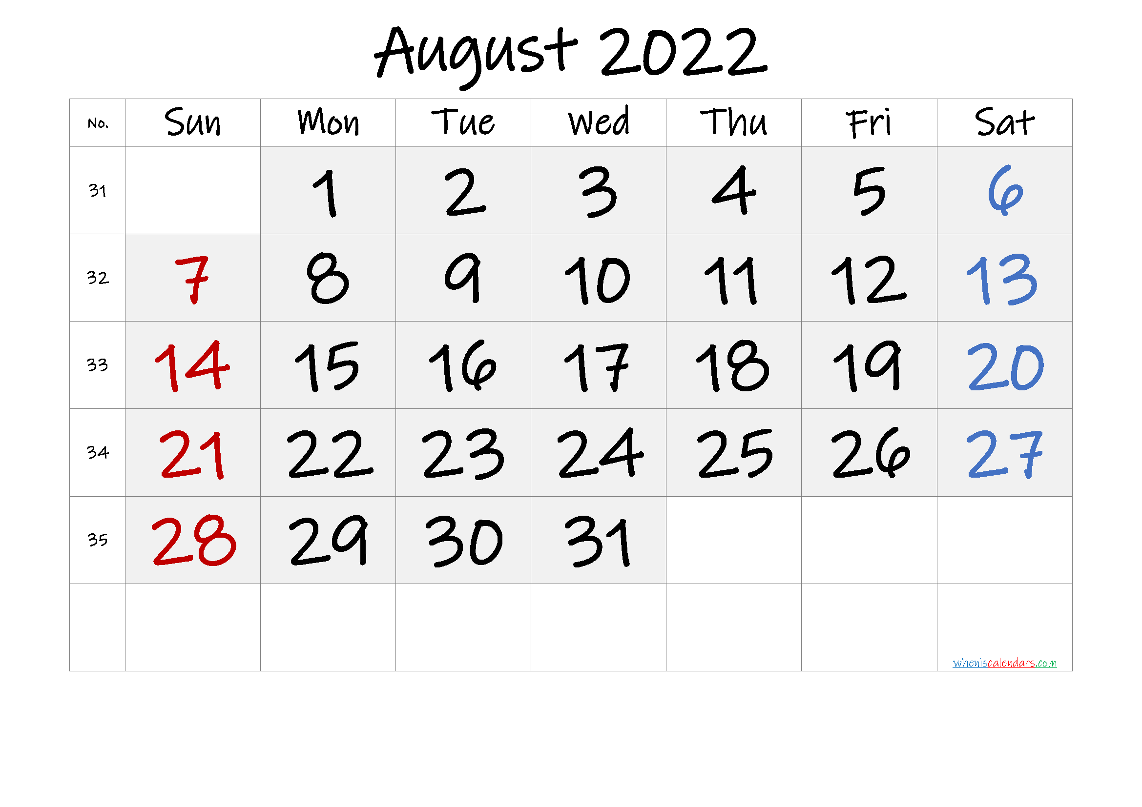 Free Printable August 2022 Calendar with Week Numbers