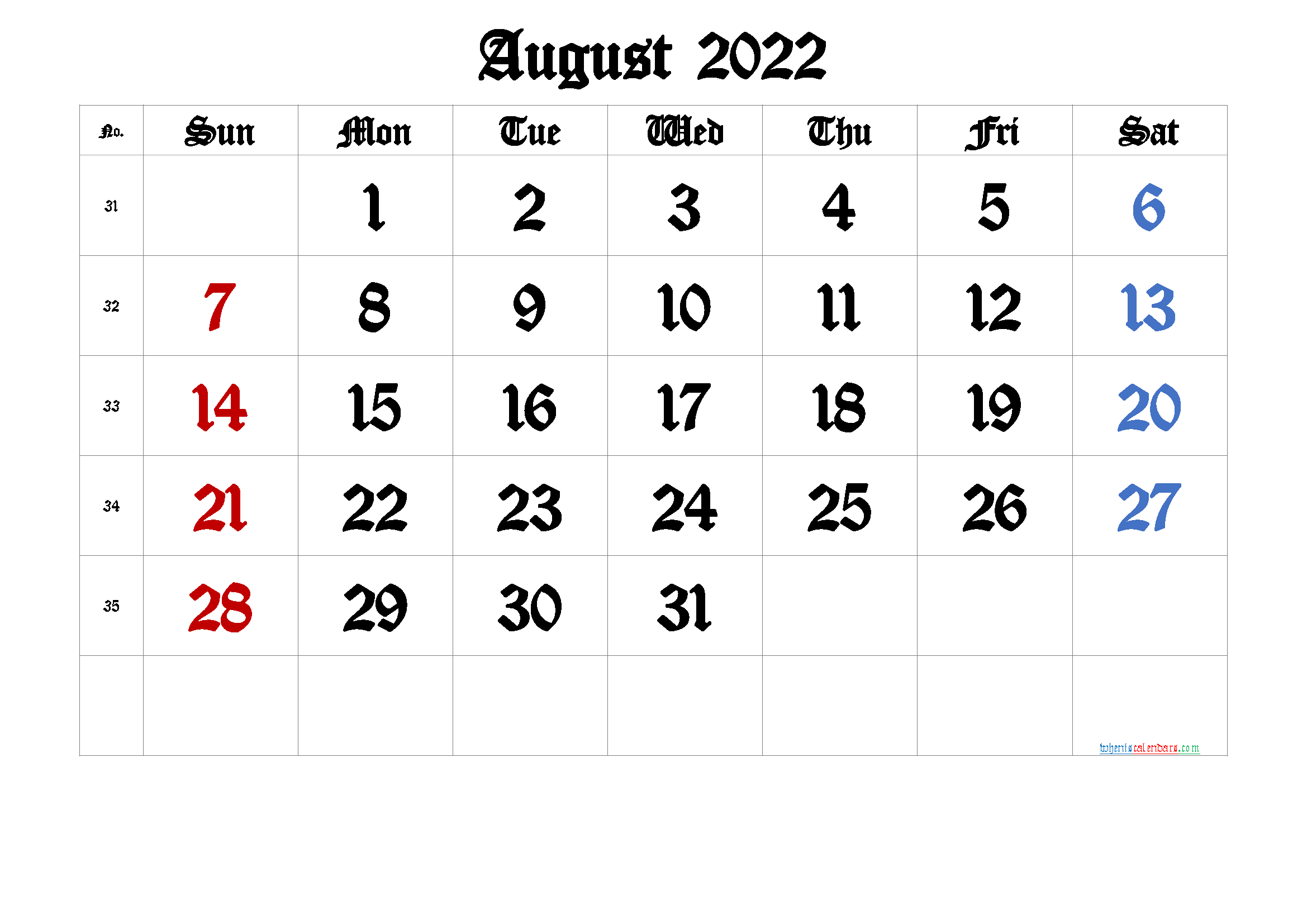 August 2022 Printable Calendar with Week Numbers