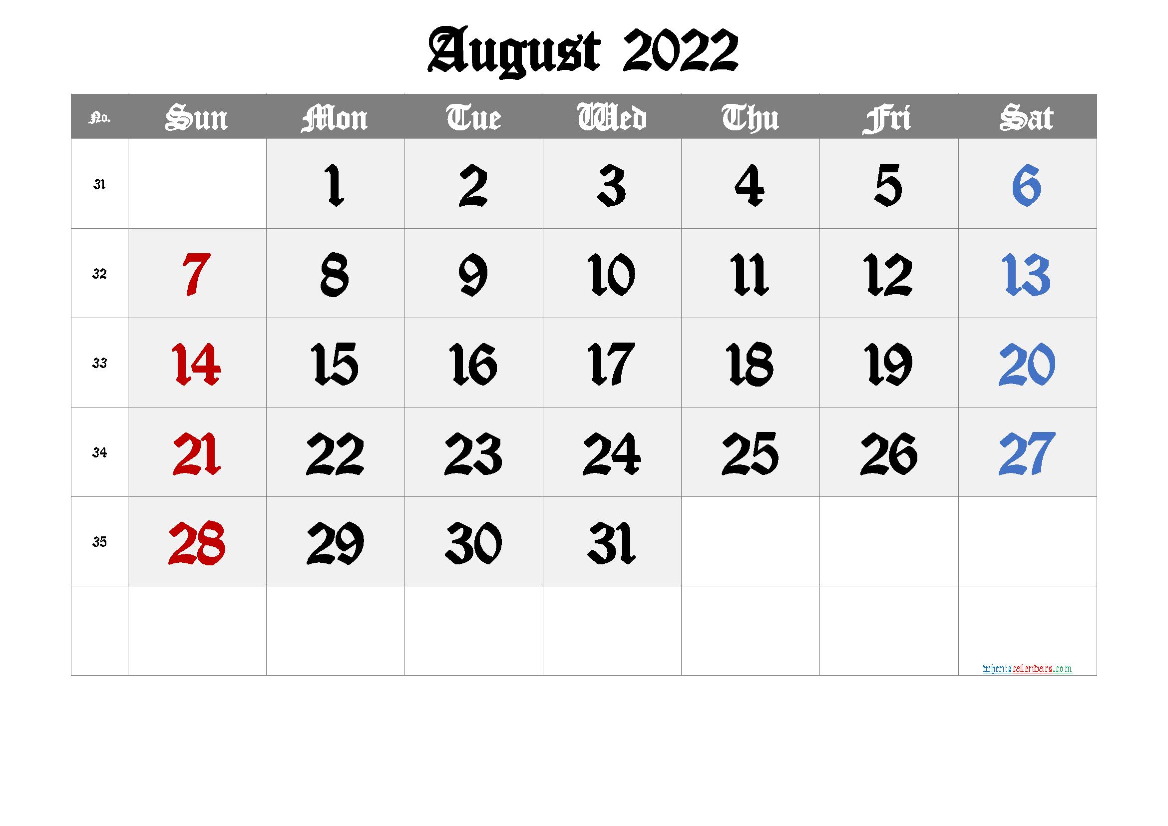 Free August 2022 Calendar
