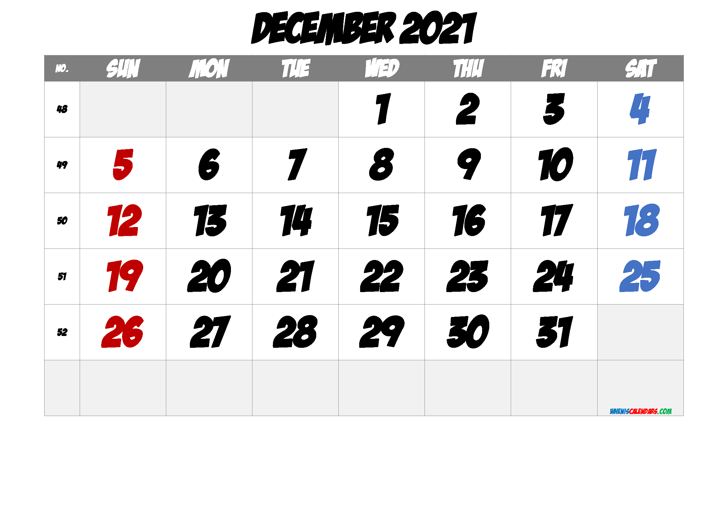 Printable December 2021 Calendar with Week Numbers