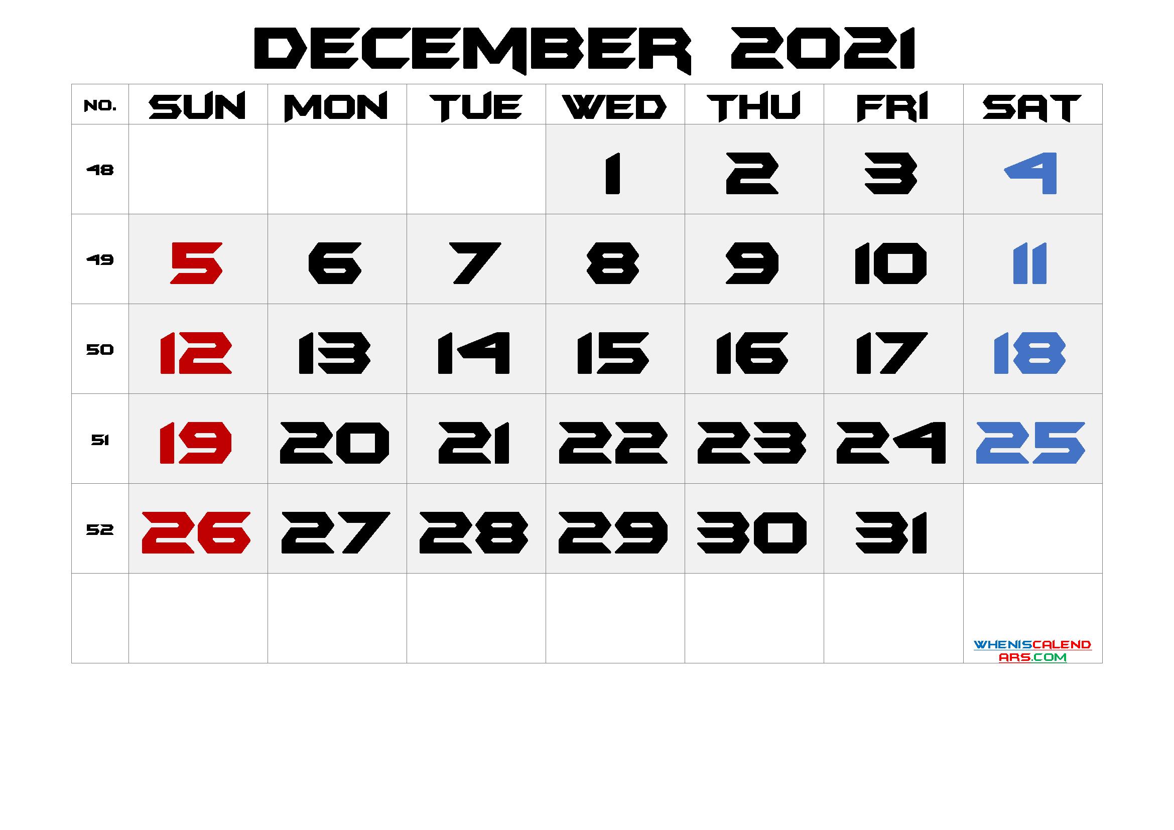 Printable December 2021 Calendar with Week Numbers