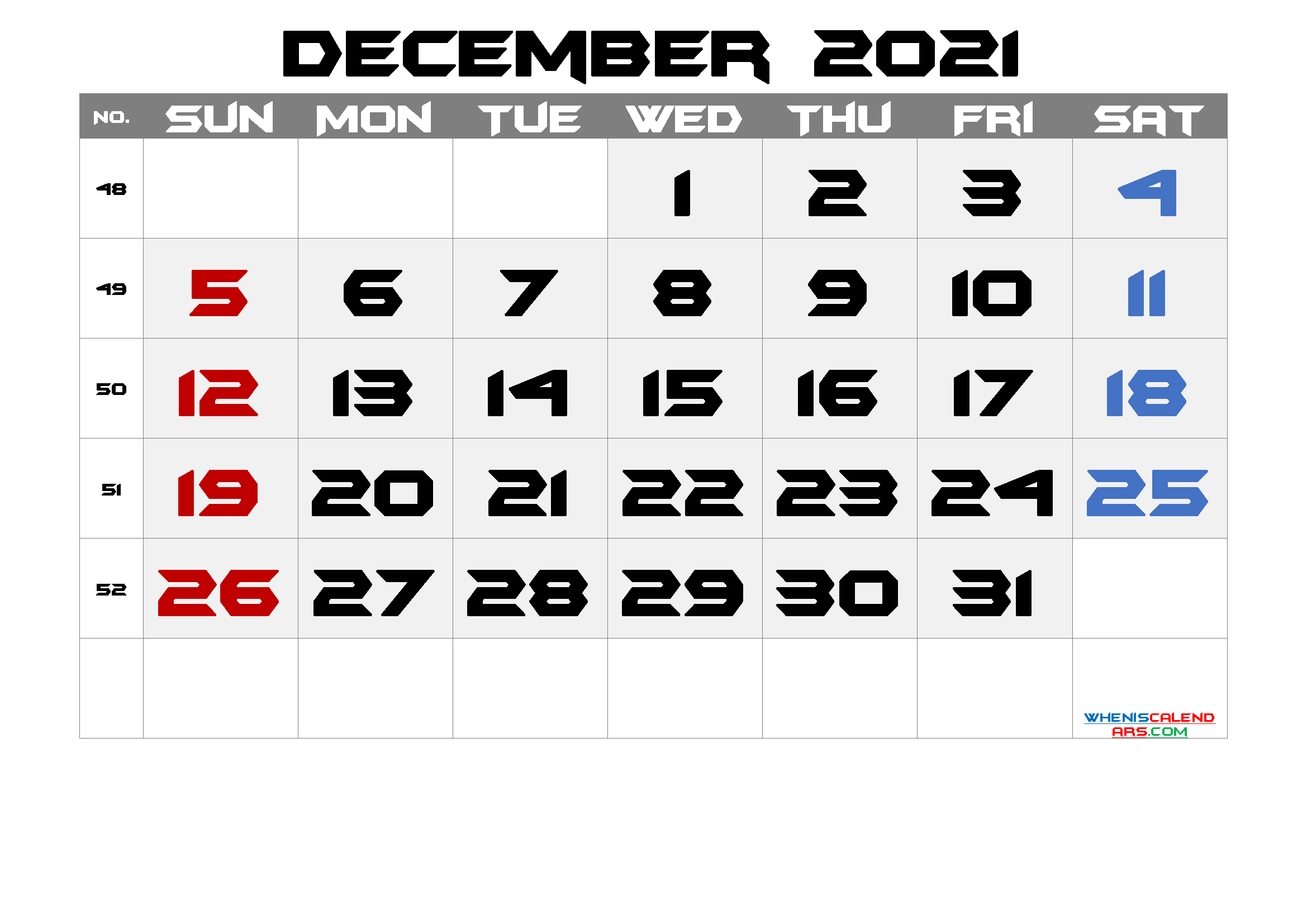 Free December 2021 Calendar with Week Numbers