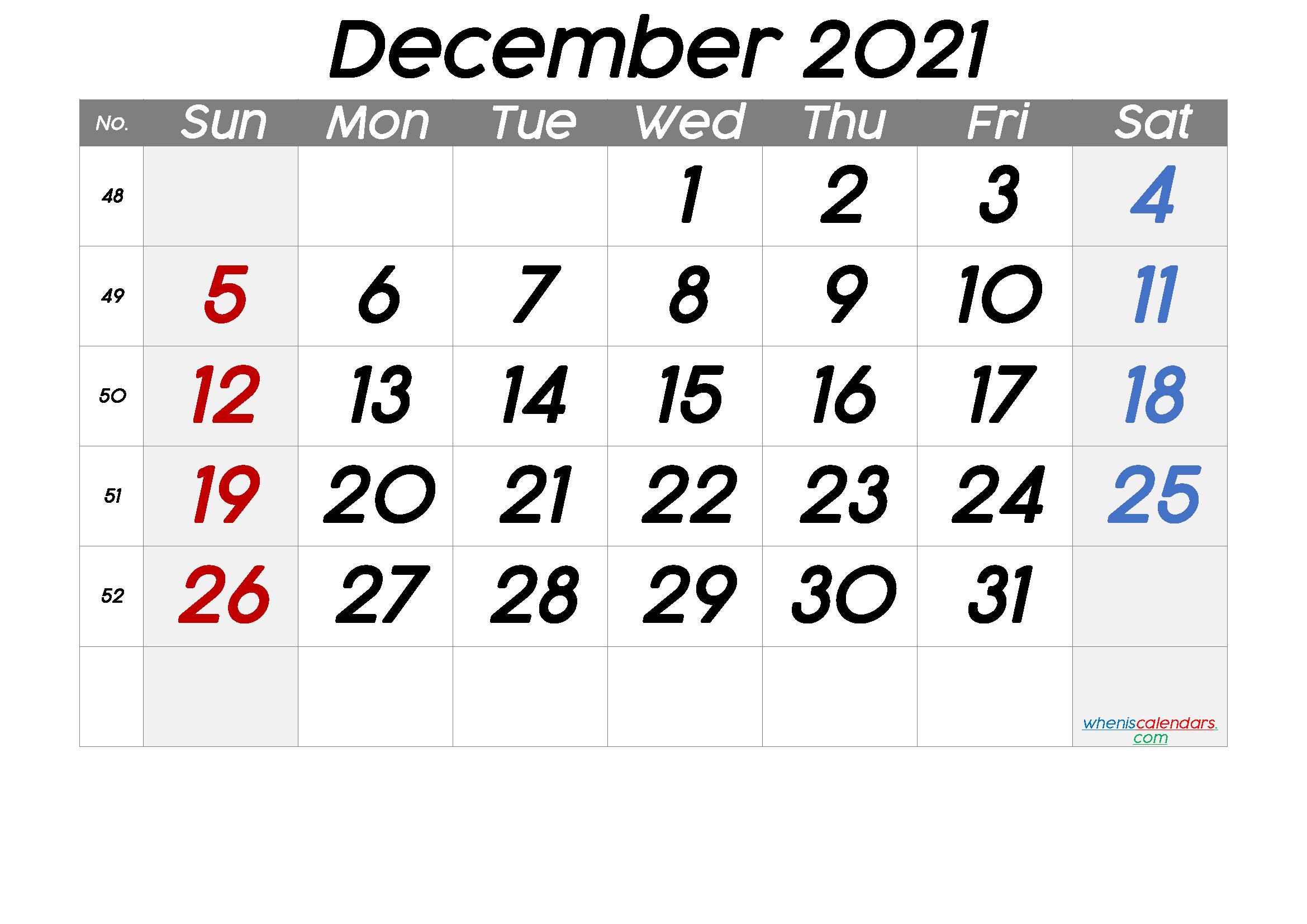 Free December 2021 Calendar with Week Numbers