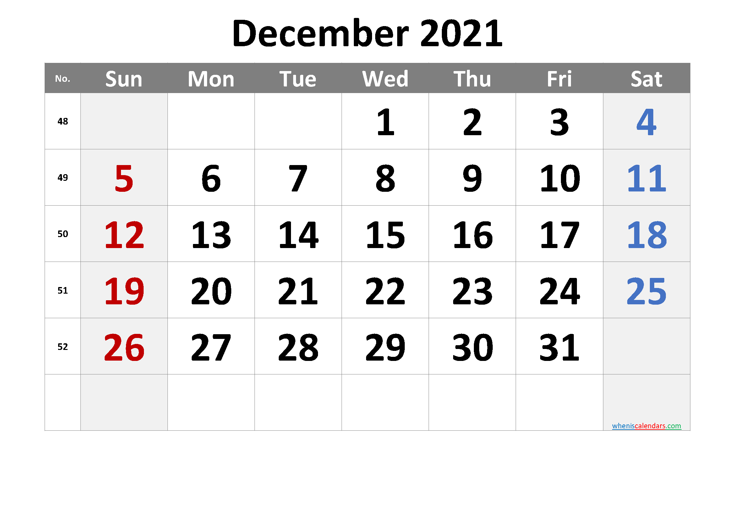 December 2021 Printable Calendar with Week Numbers