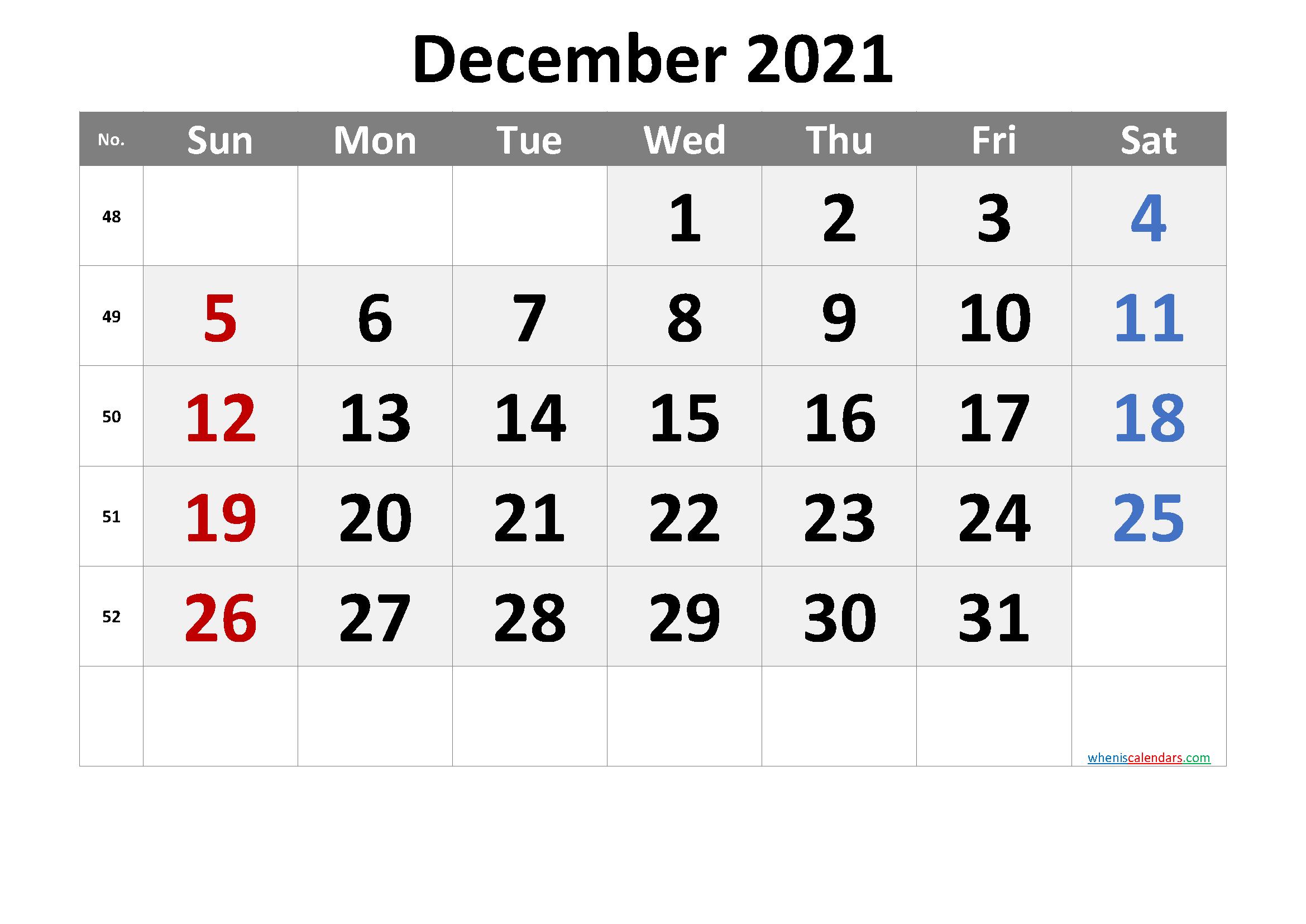 Printable Calendar December 2021